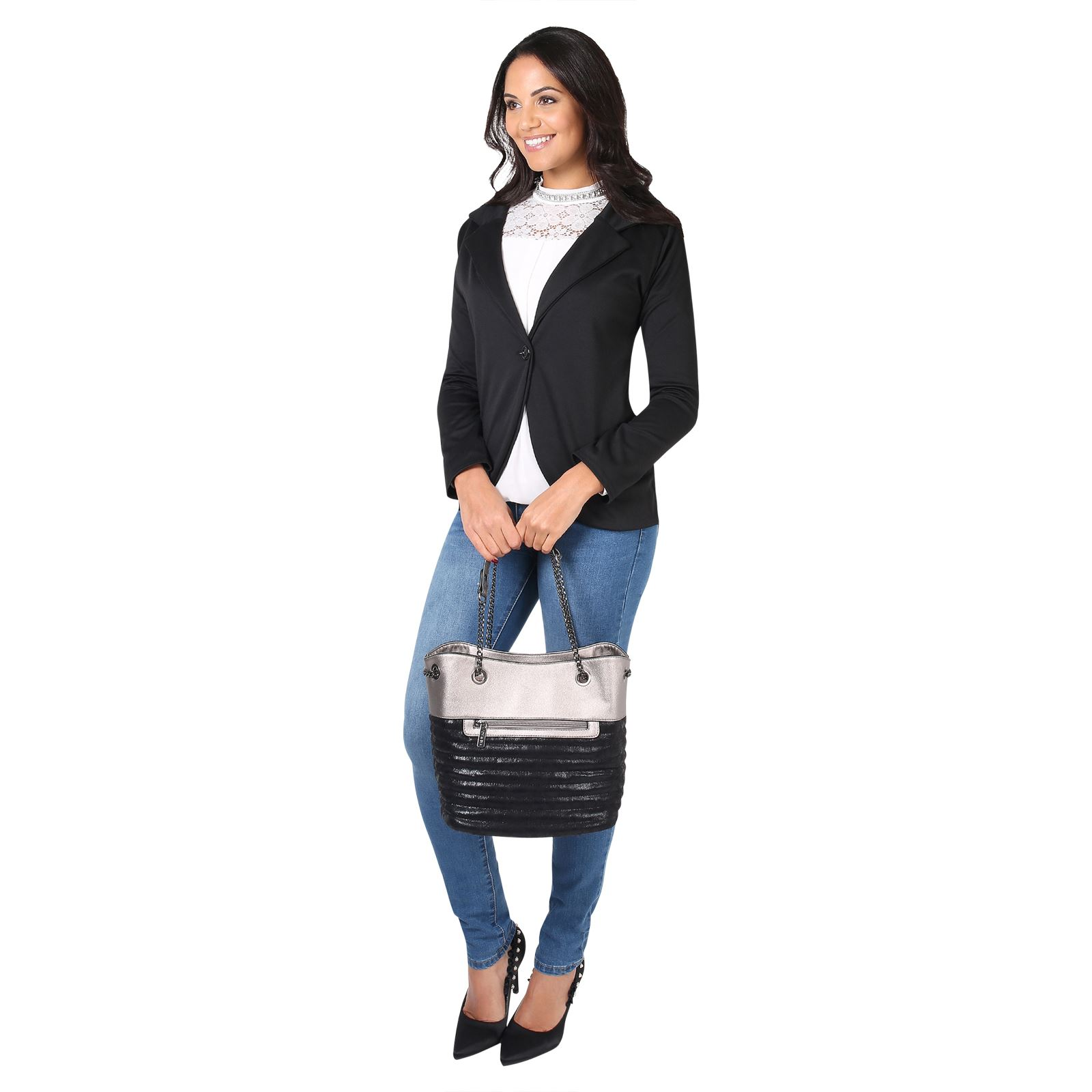 damen fashion blazer slim fit jersey sommer jacke sakko freizeit b ro office ebay. Black Bedroom Furniture Sets. Home Design Ideas