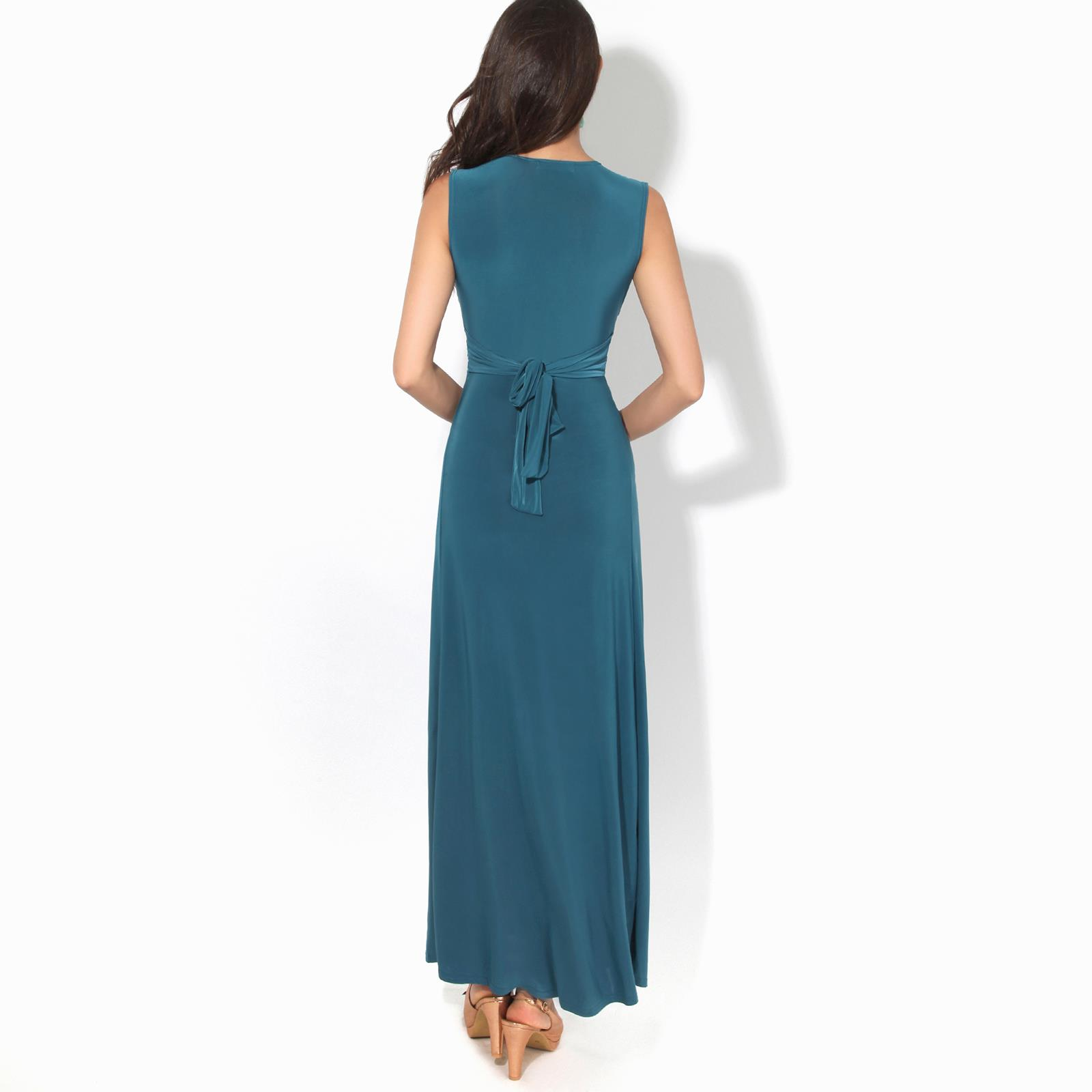 Womens-Ladies-Boho-Long-Maxi-Dress-Knot-V-Neck-Sleeveless-Pleated-Summer-Party thumbnail 13