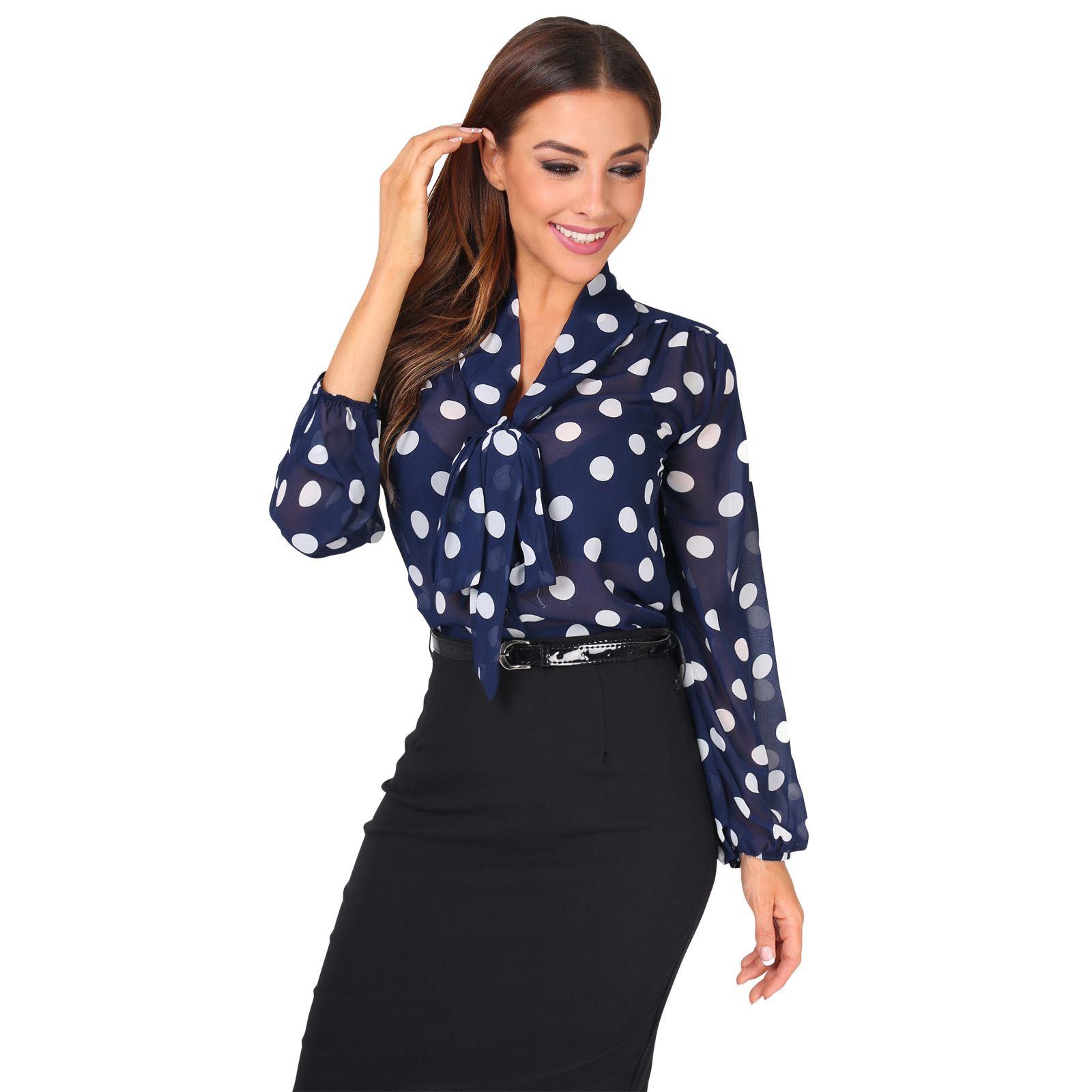 Damen-Puenktchen-Chiffon-Bluse-Schluppenbluse-Lange-Schleife-Office-Business