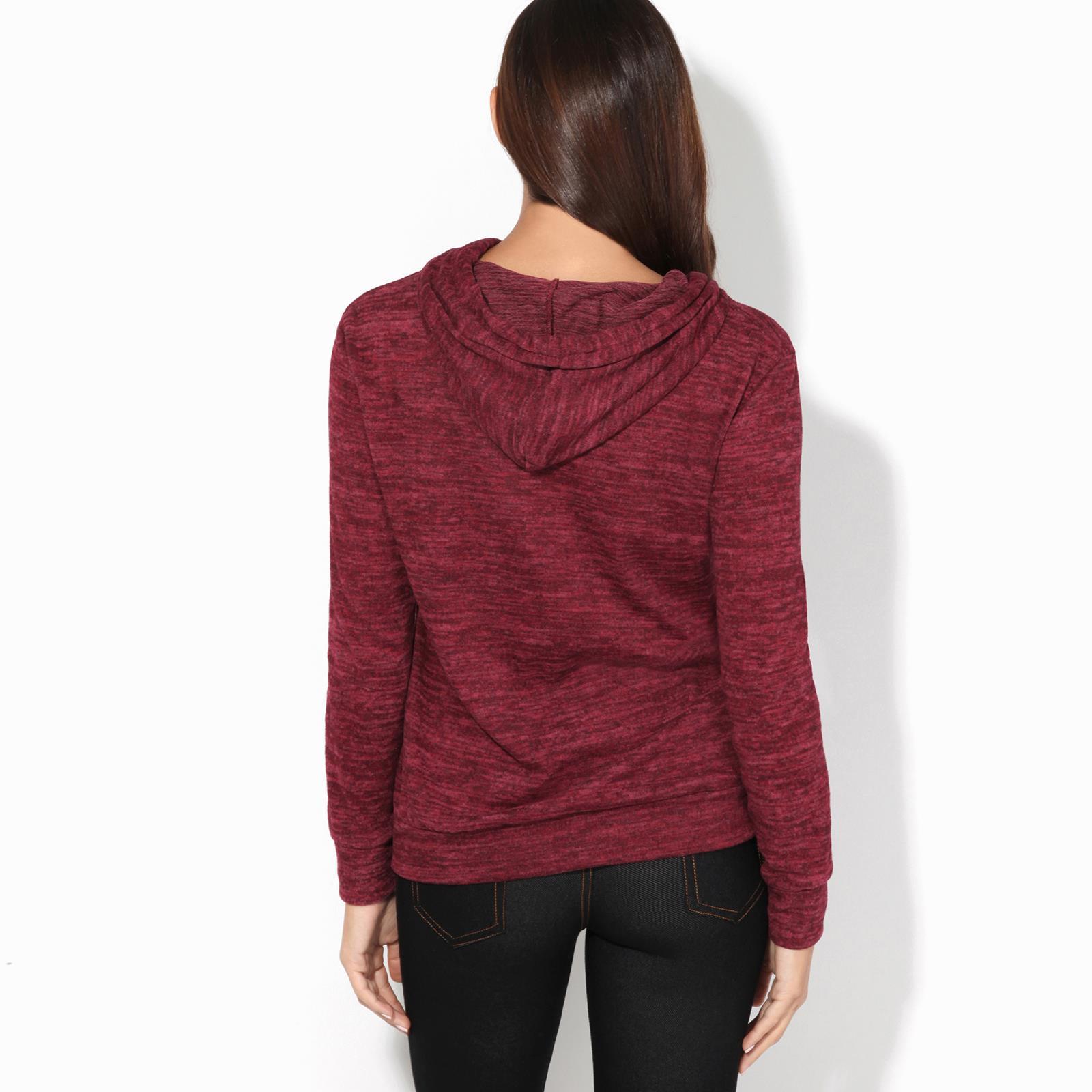 Womens-Soft-Marl-Knit-Hoodie-Hooded-Loose-Baggy-Jumper-Sweater-Top-Sweatshirt thumbnail 15