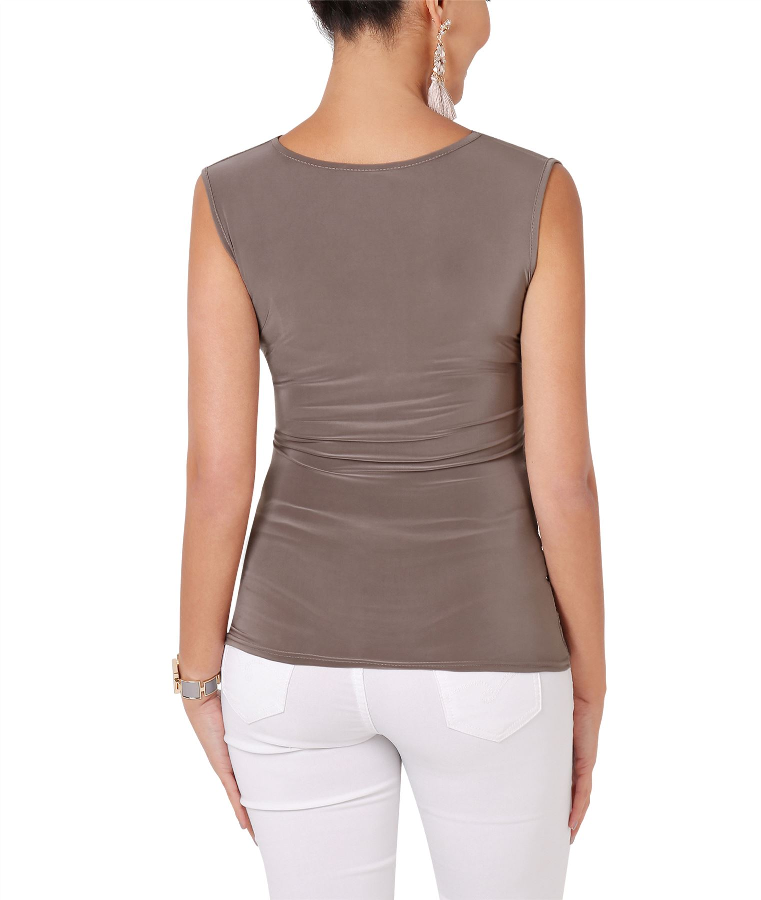Womens-Wrap-Blouse-V-Neck-Sleeveless-T-Shirt-Evening-Tops-Stretch-Ruched-Party thumbnail 10