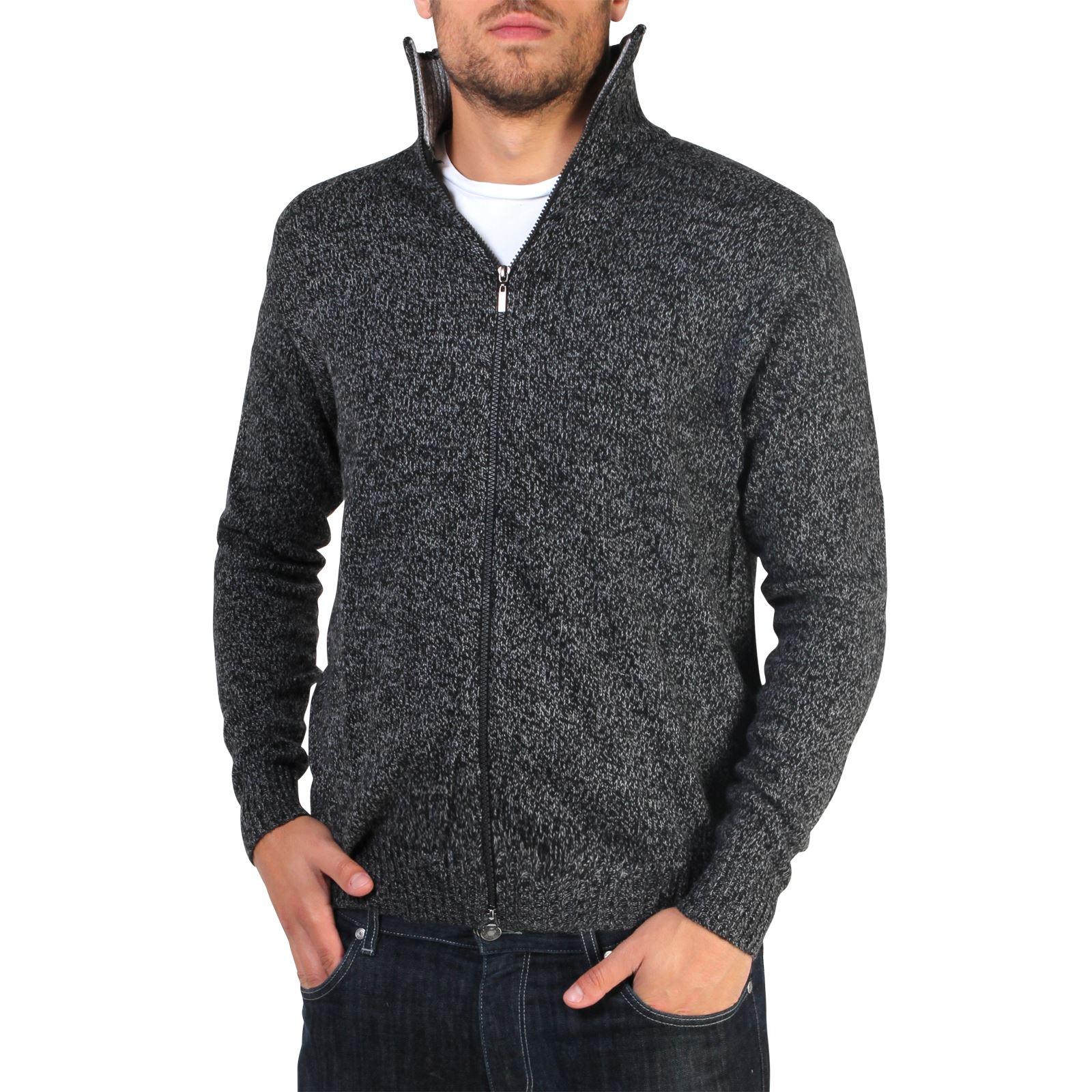 Mens-Wool-Jumper-Winter-Sweater-Zip-Up-Funnel-Neck-Soft-Knit-Cardigan-Top thumbnail 4