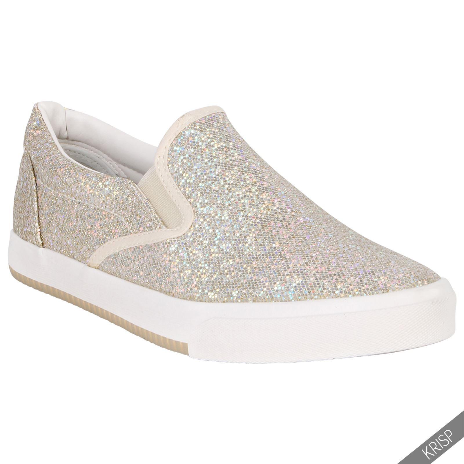 cbc5937a1a1c Women Ladies Floral Glitter Slip On Plimsolls Trainers Sneakers ...