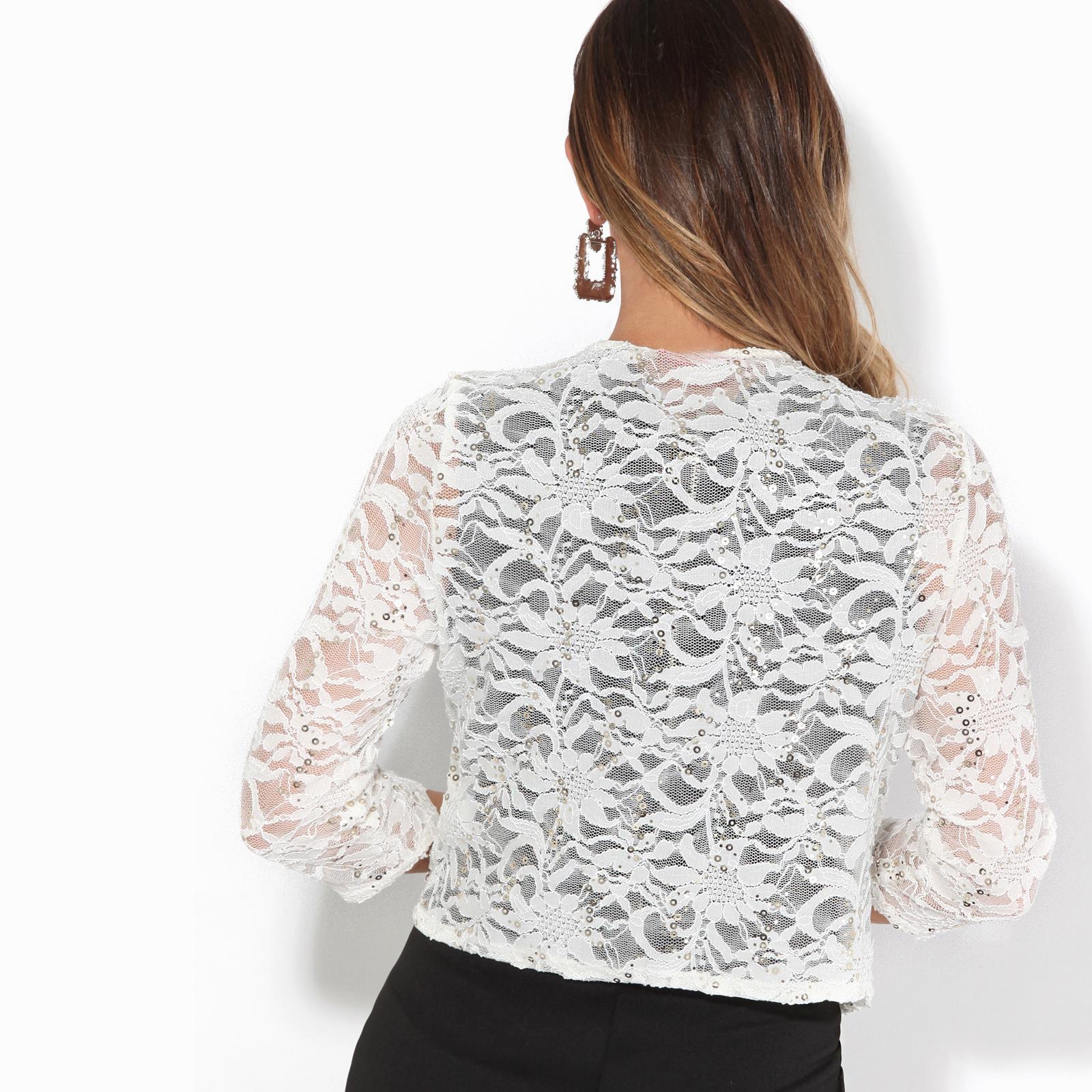 Women-Ladies-Sequin-Lace-Party-Shrug-Evening-Bolero-Cocktail-Jacket-Wrap-Wedding thumbnail 5