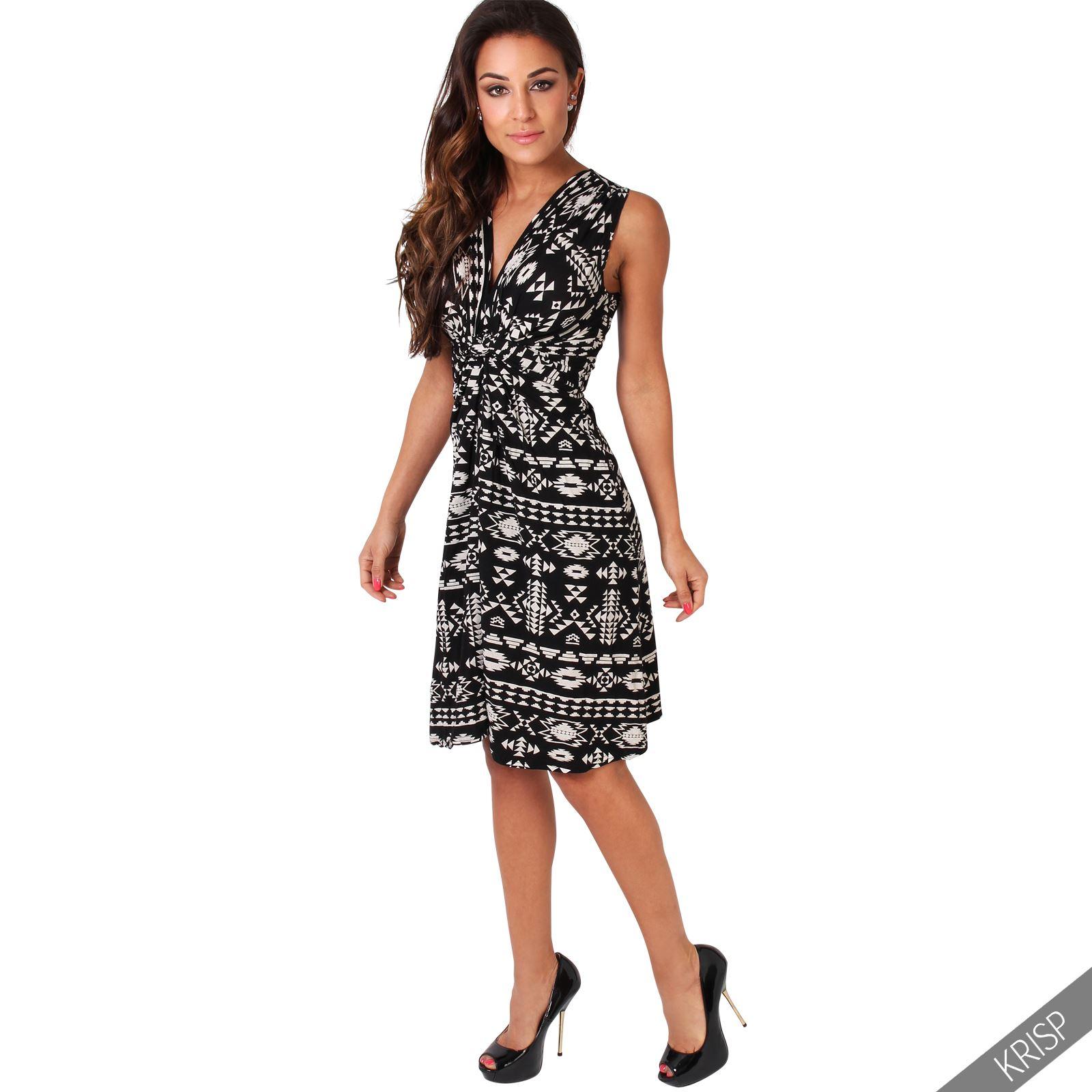 Womens-V-Neck-Mini-Dress-Small-Sizes-Short-Skirt-Tribal-Print-Front-Knot-Party thumbnail 16