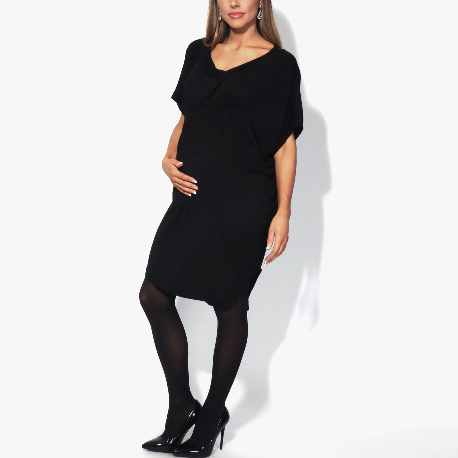 Maternity-Dress-Empire-Line-Top-Long-Loose-T-Shirt-Batwing-Tunic-Pregnancy-Plus thumbnail 3