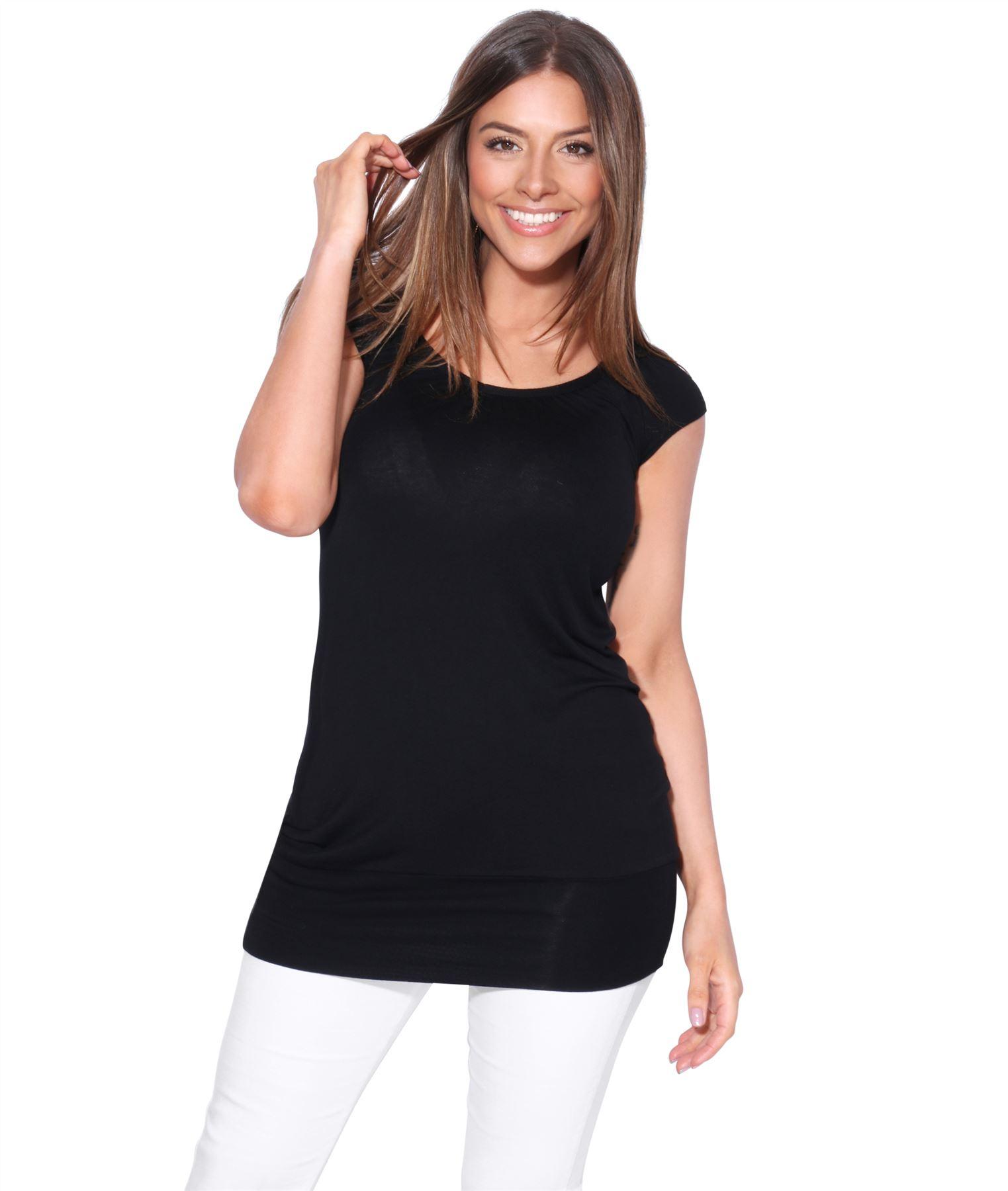 Womens-Ladies-Scoop-Neck-Blouse-V-T-Shirt-Long-Short-Sleeve-Plain-Loose-Top thumbnail 8