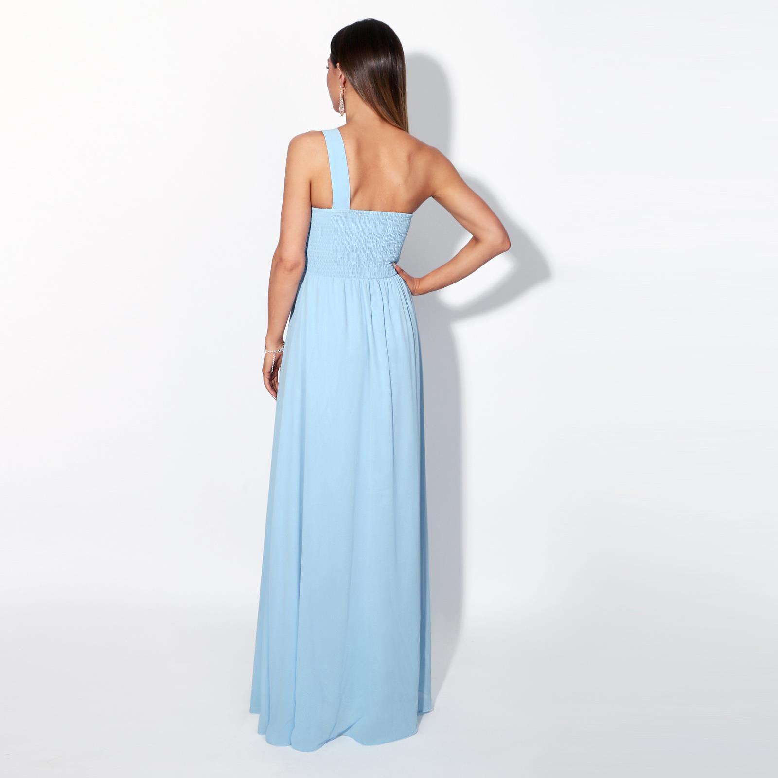 Womens-Wedding-Bridesmaid-Prom-Dress-Formal-One-Off-Shoulder-Long-Evening-8-18 thumbnail 5