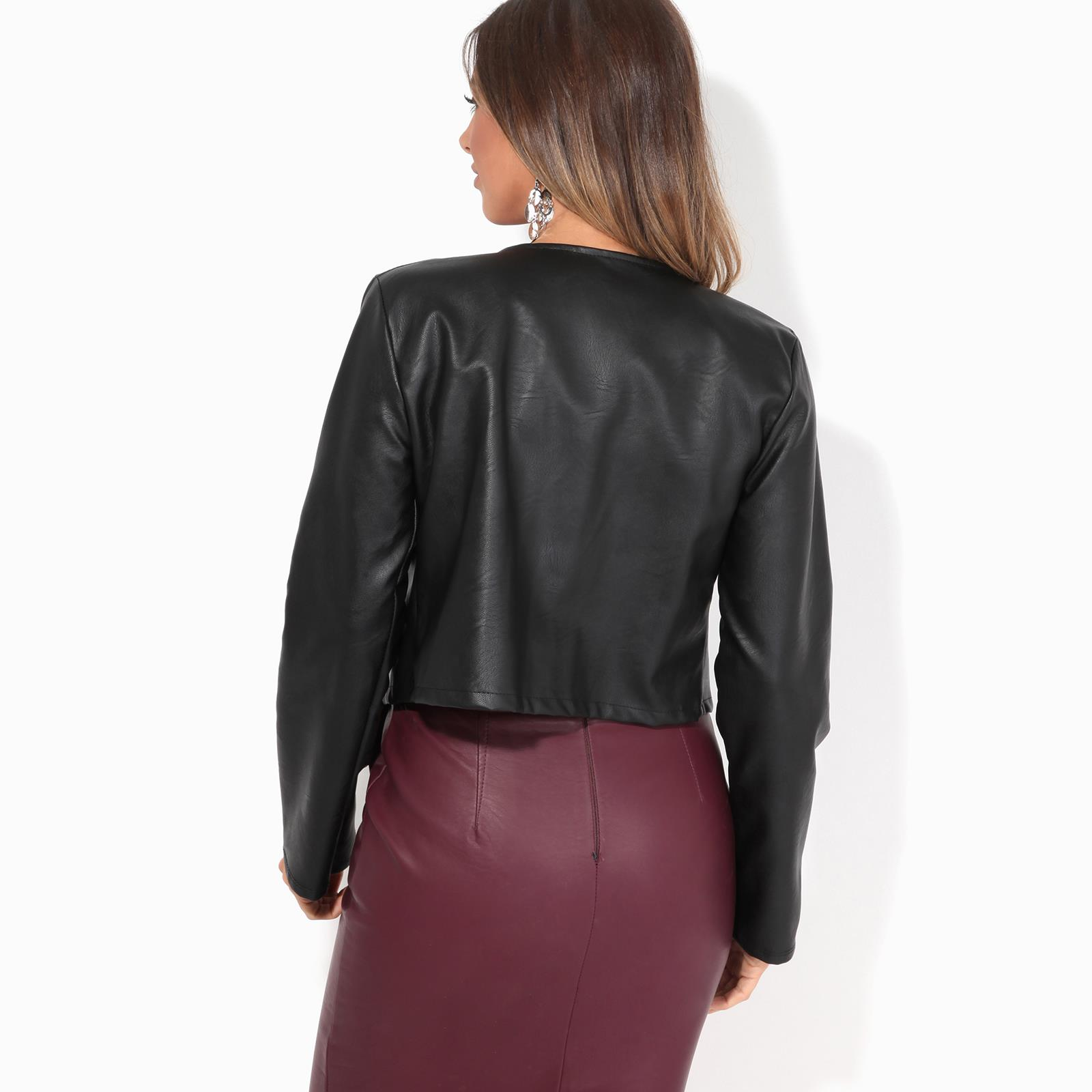 Womens-Ladies-PU-Leather-Biker-Jacket-Open-Bolero-Short-Coat-Shrug-Cropped-Top thumbnail 3