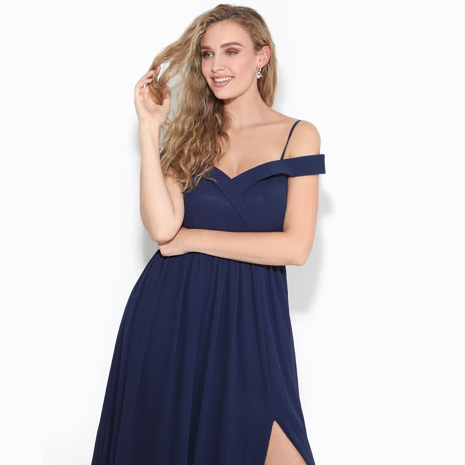 Womens-Ladies-Off-Shoulder-Formal-Maxi-Dress-Slit-Split-Long-Gown-Wedding-Party thumbnail 9