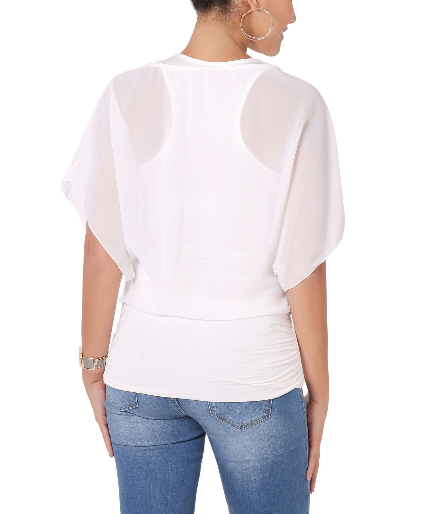 Womens-Scoop-Neck-Blouse-Baggy-Batwing-T-Shirt-Top-Ladies-Oversized-Chiffon-2in1 thumbnail 13