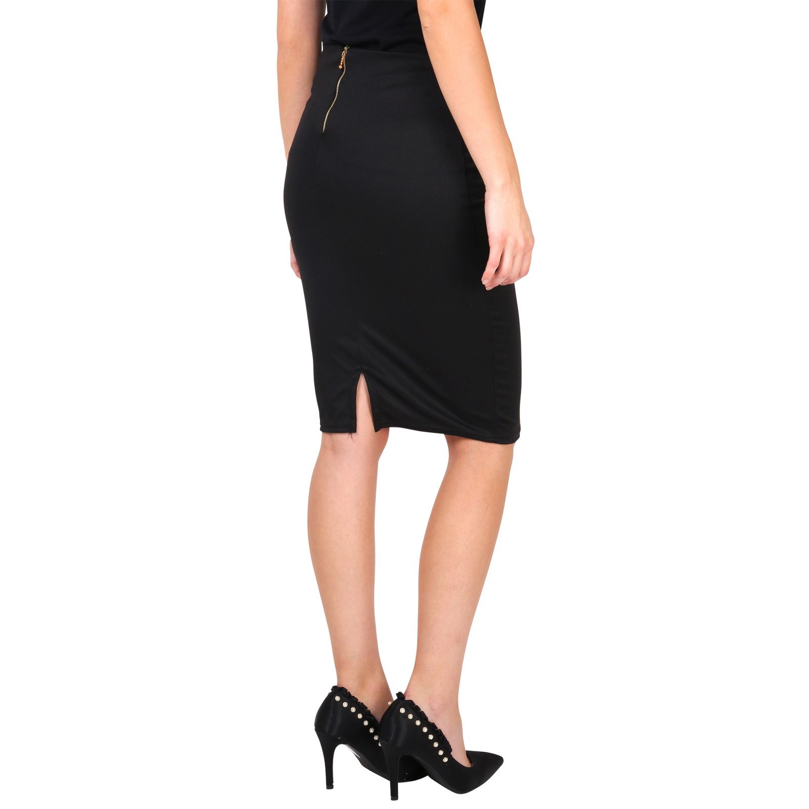 Womens-Ladies-Pencil-Midi-Skirt-Stretch-Fitted-Belt-Bodycon-Office-Work-8-20 thumbnail 3