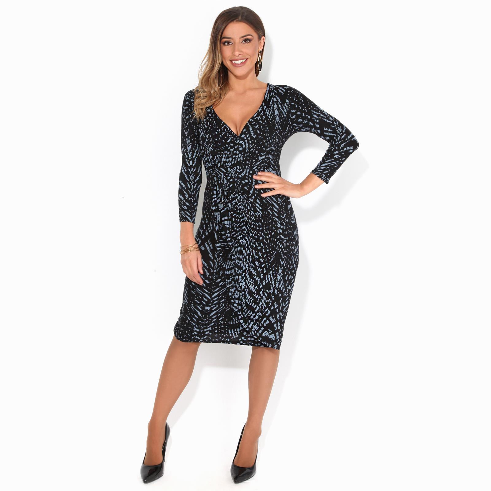 Womens-V-Neck-Dress-Top-Bodycon-Skirt-Midi-Snakeskin-Print-Cross-Over-Party-Wrap thumbnail 9
