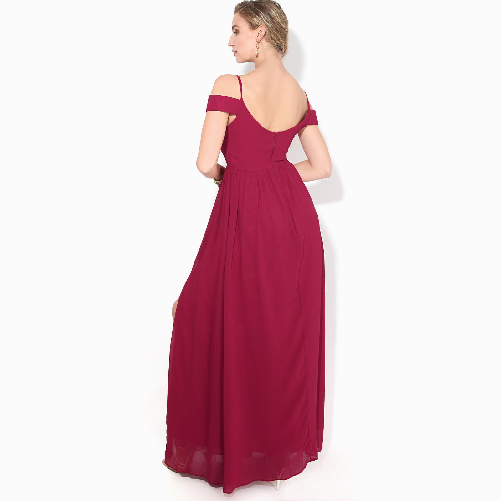 Womens-Ladies-Off-Shoulder-Formal-Maxi-Dress-Slit-Split-Long-Gown-Wedding-Party thumbnail 7