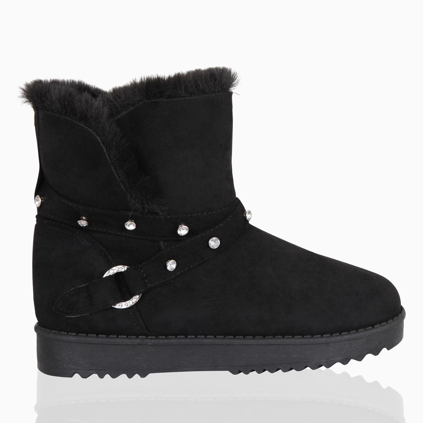 Detalles de Mujer Piel Forro Botas Minishorts Nieve Invierno Zapatos Suave Tobillo Hebilla