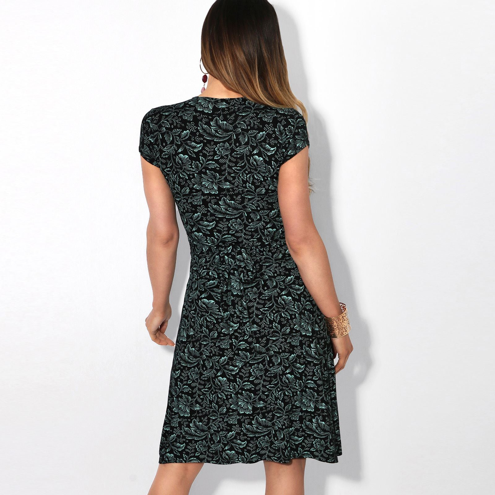 Womens-Ladies-V-Neck-Mini-Midi-Dress-Floral-Print-Knot-Short-Skirt-Party-Casual thumbnail 24