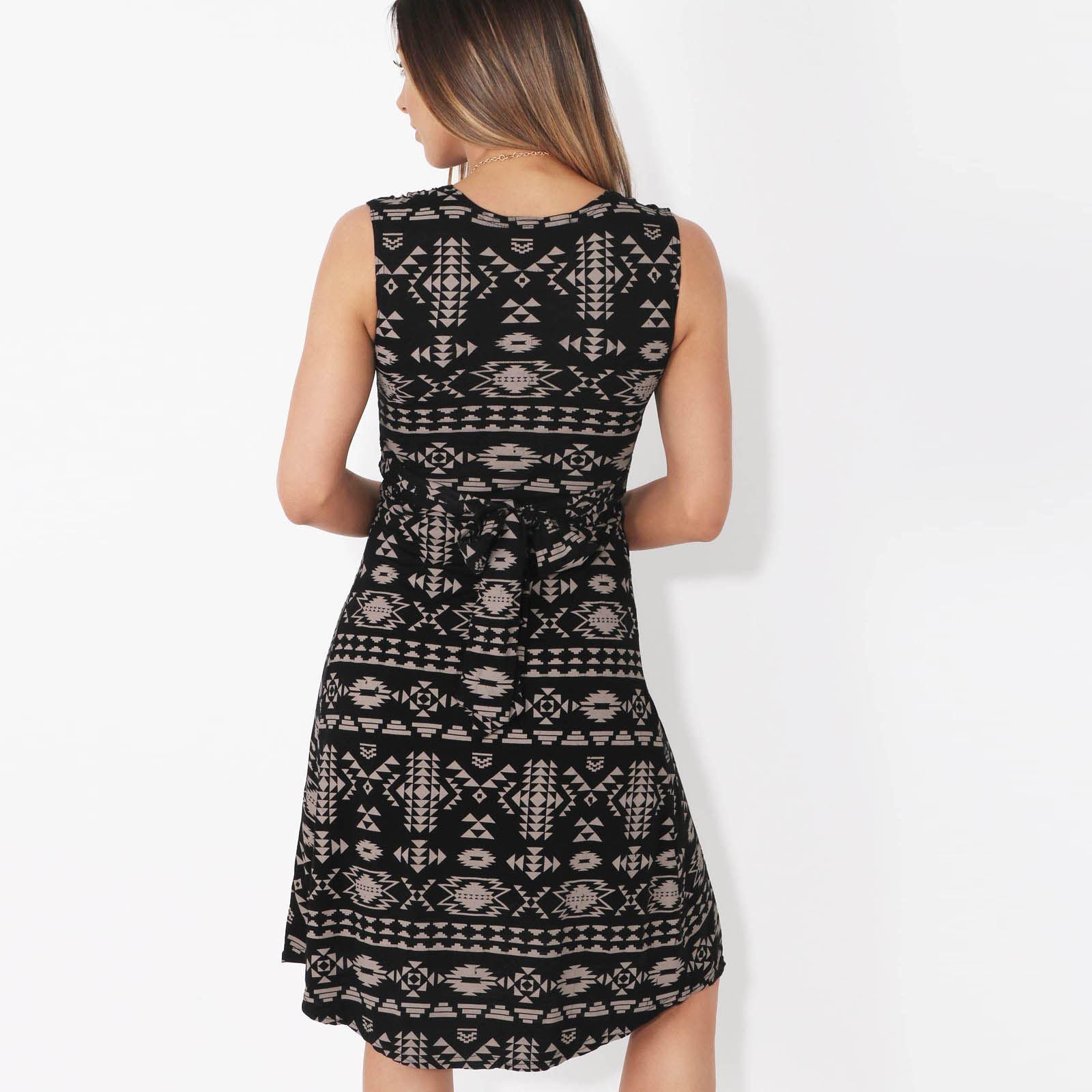 Womens-V-Neck-Mini-Dress-Small-Sizes-Short-Skirt-Tribal-Print-Front-Knot-Party thumbnail 10