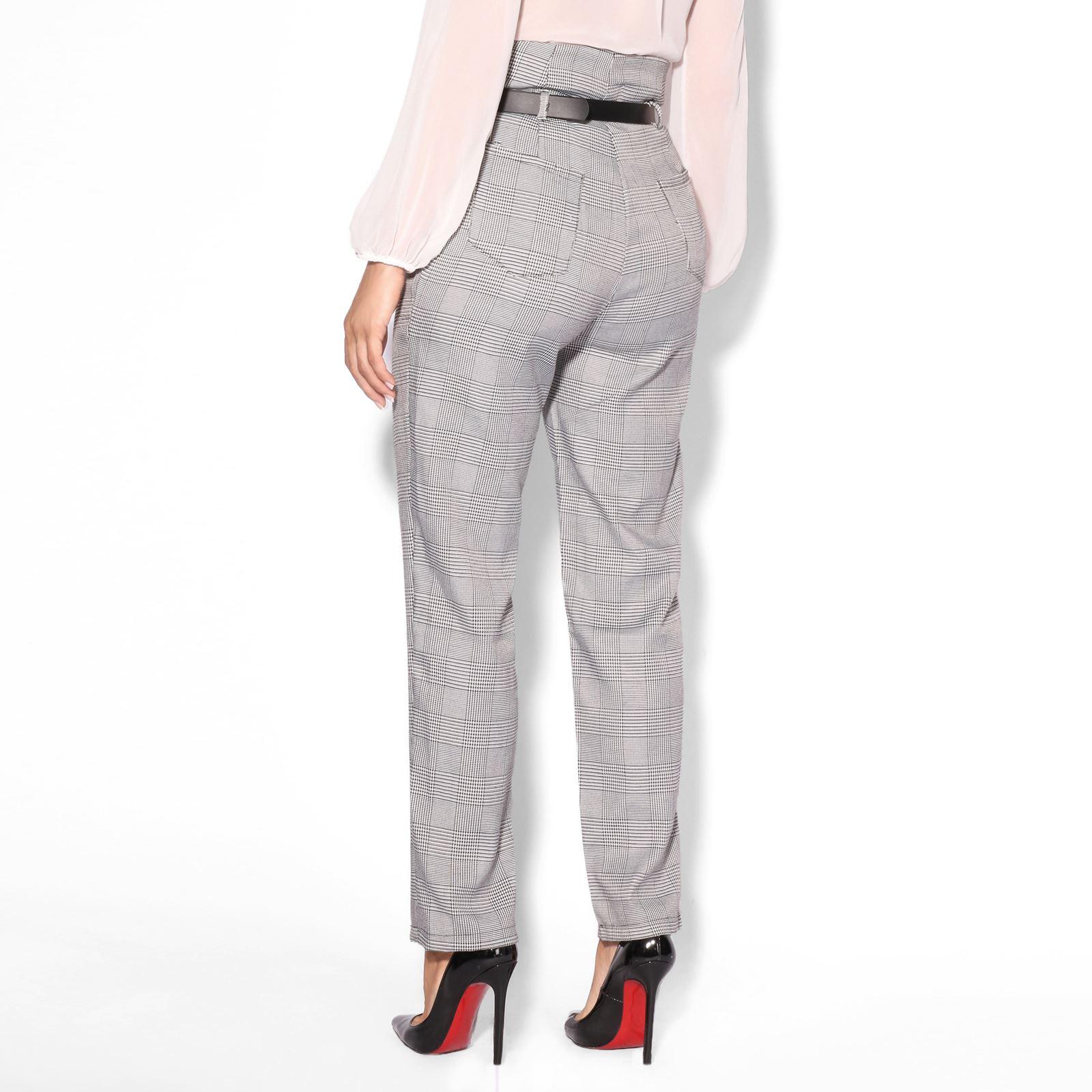 8be449015c43 Women Belted Paper Bag High Waist Tartan Check Cigarette Trousers ...