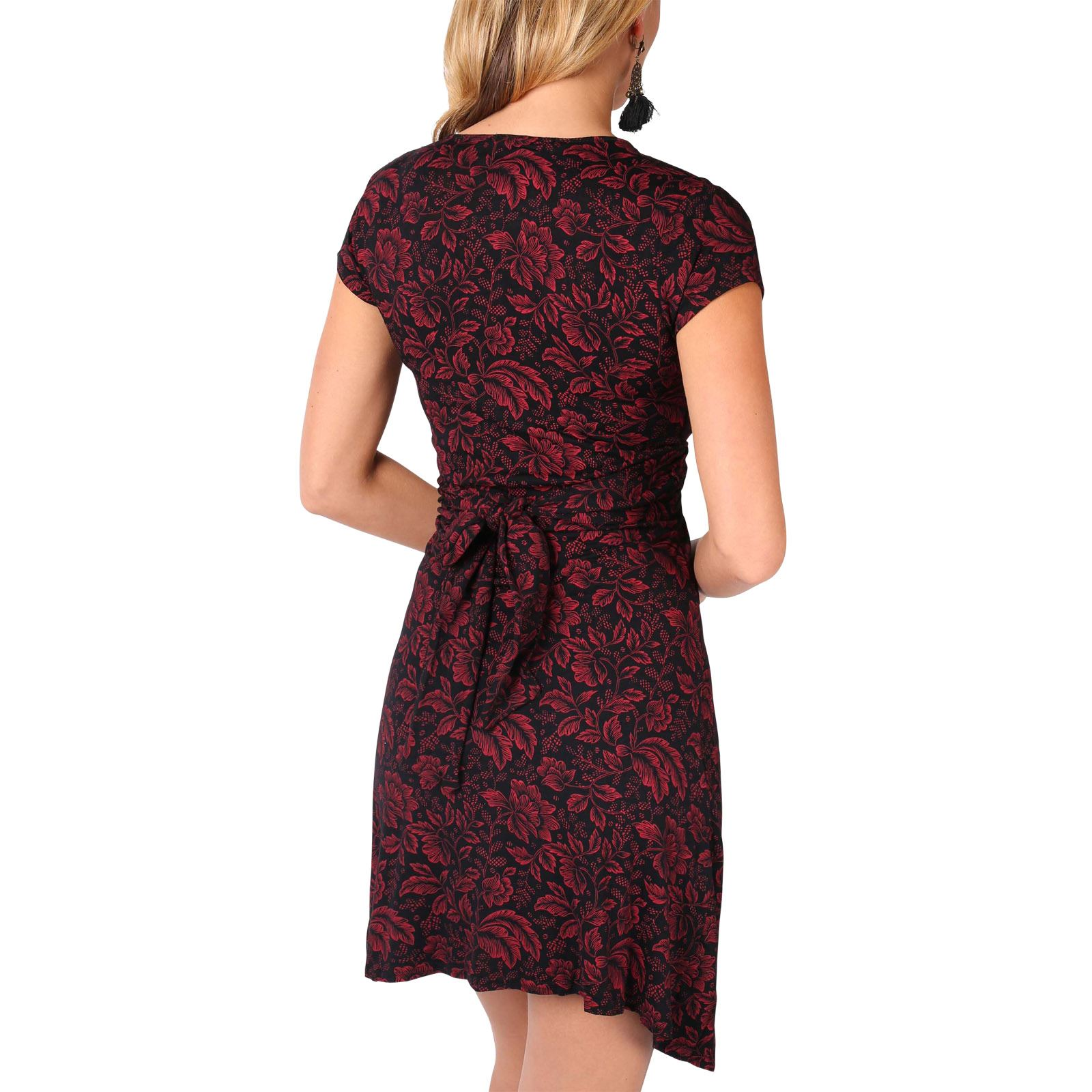 Womens-Ladies-V-Neck-Mini-Midi-Dress-Floral-Print-Knot-Short-Skirt-Party-Casual thumbnail 27