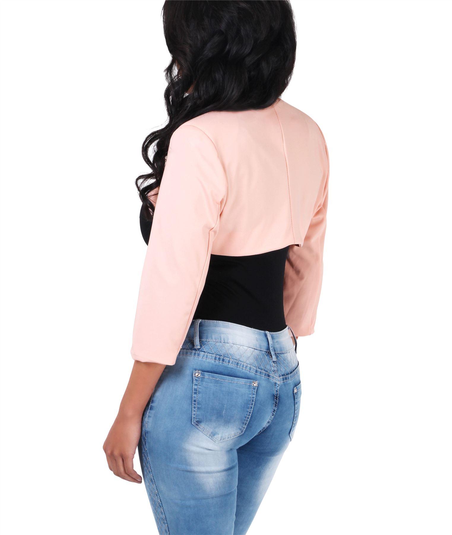 Womens-Tailored-Bolero-Shrug-Cropped-Top-Short-Sleeve-Party-Blazer-Jacket-Coat thumbnail 11