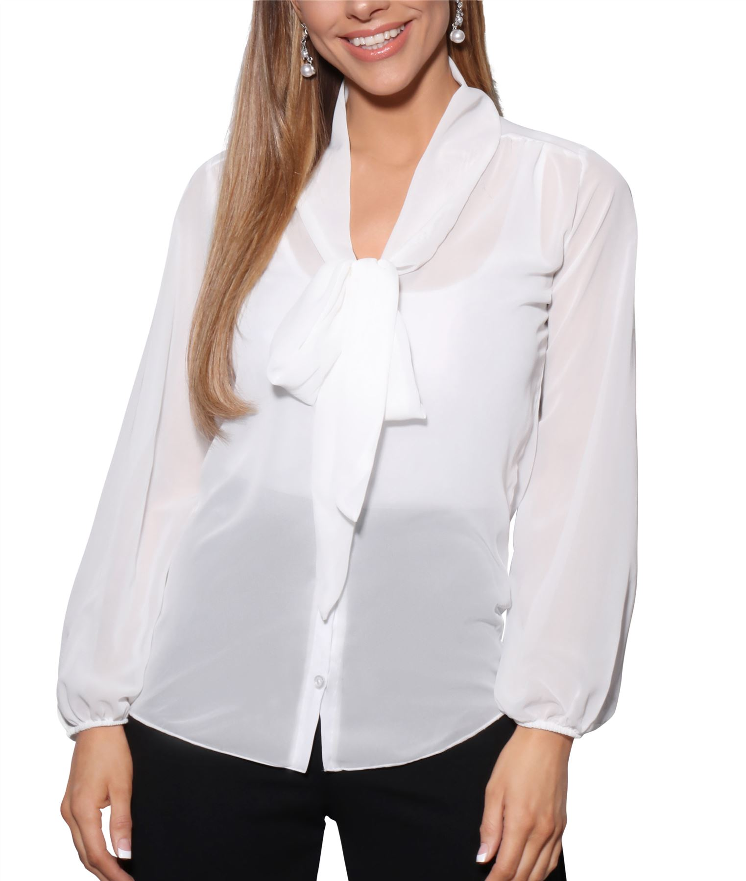 Womens-Ladies-Chiffon-Blouse-Long-Sleeve-Pussy-Bow-Top-Plain-Shirt-Office-Party thumbnail 8