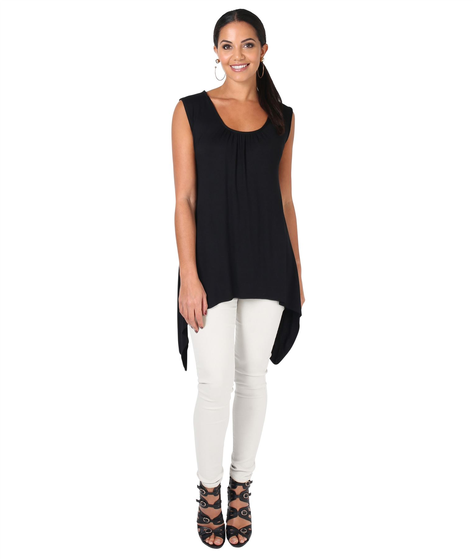 Women-Long-Top-Sleeveless-Pleated-Tee-Shirt-Tunic-Jersey-Stretch-Loose-Fit thumbnail 5