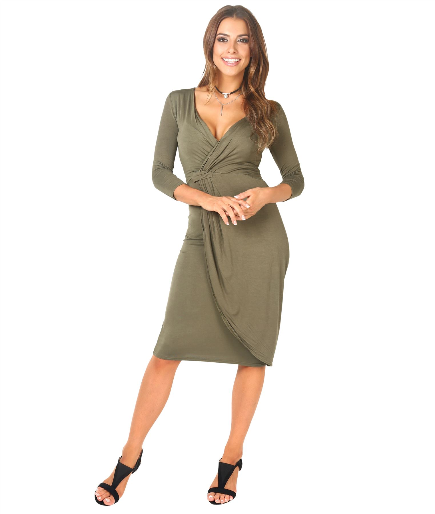 Womens-Ladies-Shift-Wrap-Dress-Midi-Knee-Long-Quarter-Sleeve-Sexy-Solid-Party thumbnail 12