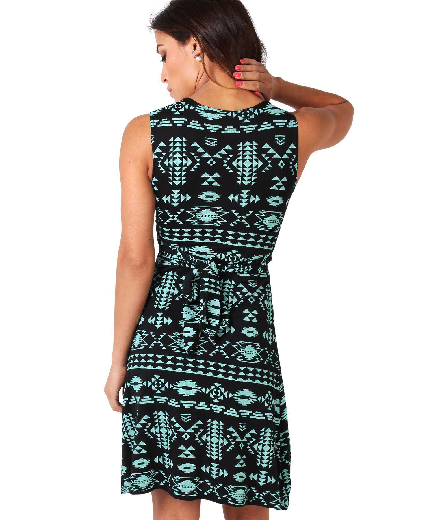 Womens-V-Neck-Mini-Dress-Small-Sizes-Short-Skirt-Tribal-Print-Front-Knot-Party thumbnail 22