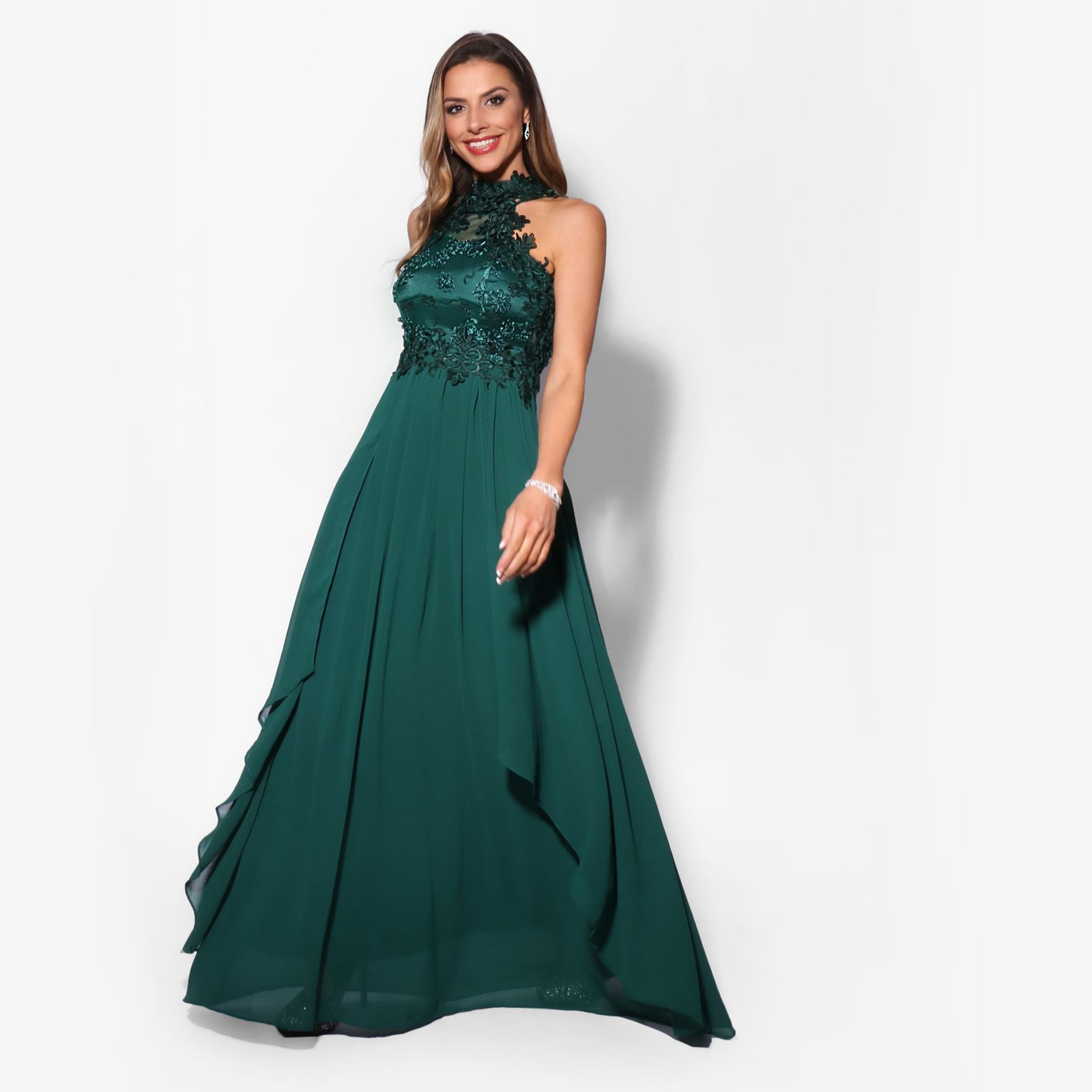 Women-Lace-Halterneck-Maxi-Dress-Long-Evening-Cocktail-Ball-Gown-Formal-Party thumbnail 3