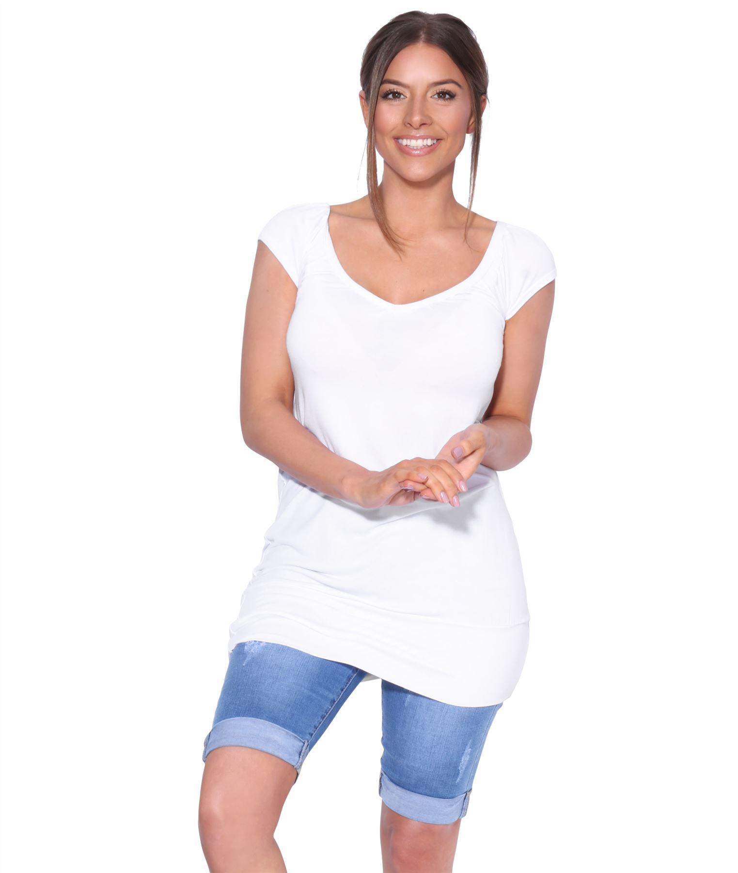 Womens-Ladies-Scoop-Neck-Blouse-V-T-Shirt-Long-Short-Sleeve-Plain-Loose-Top thumbnail 52