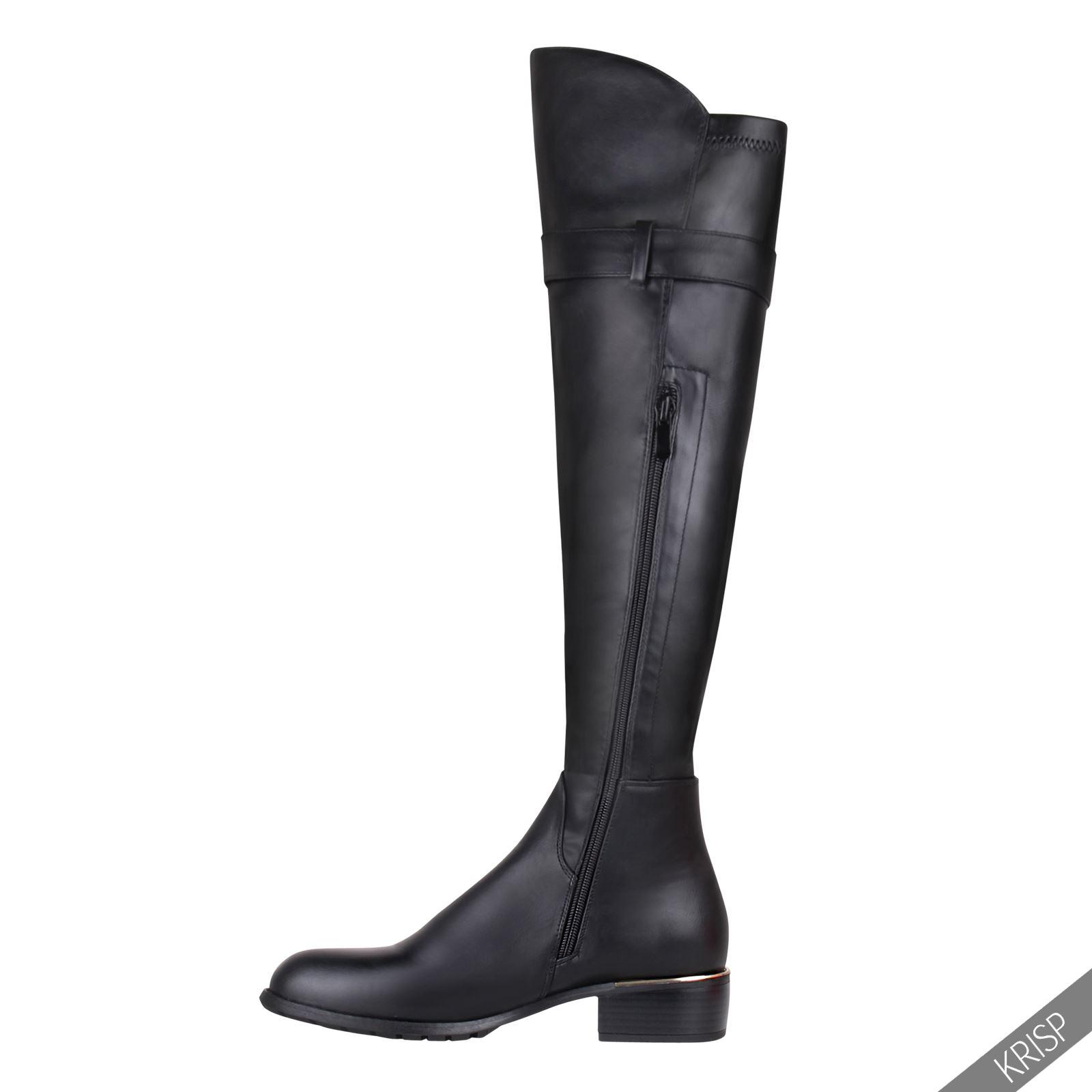 femmes bottes cuissardes cuir clous booties chaussures talon plat