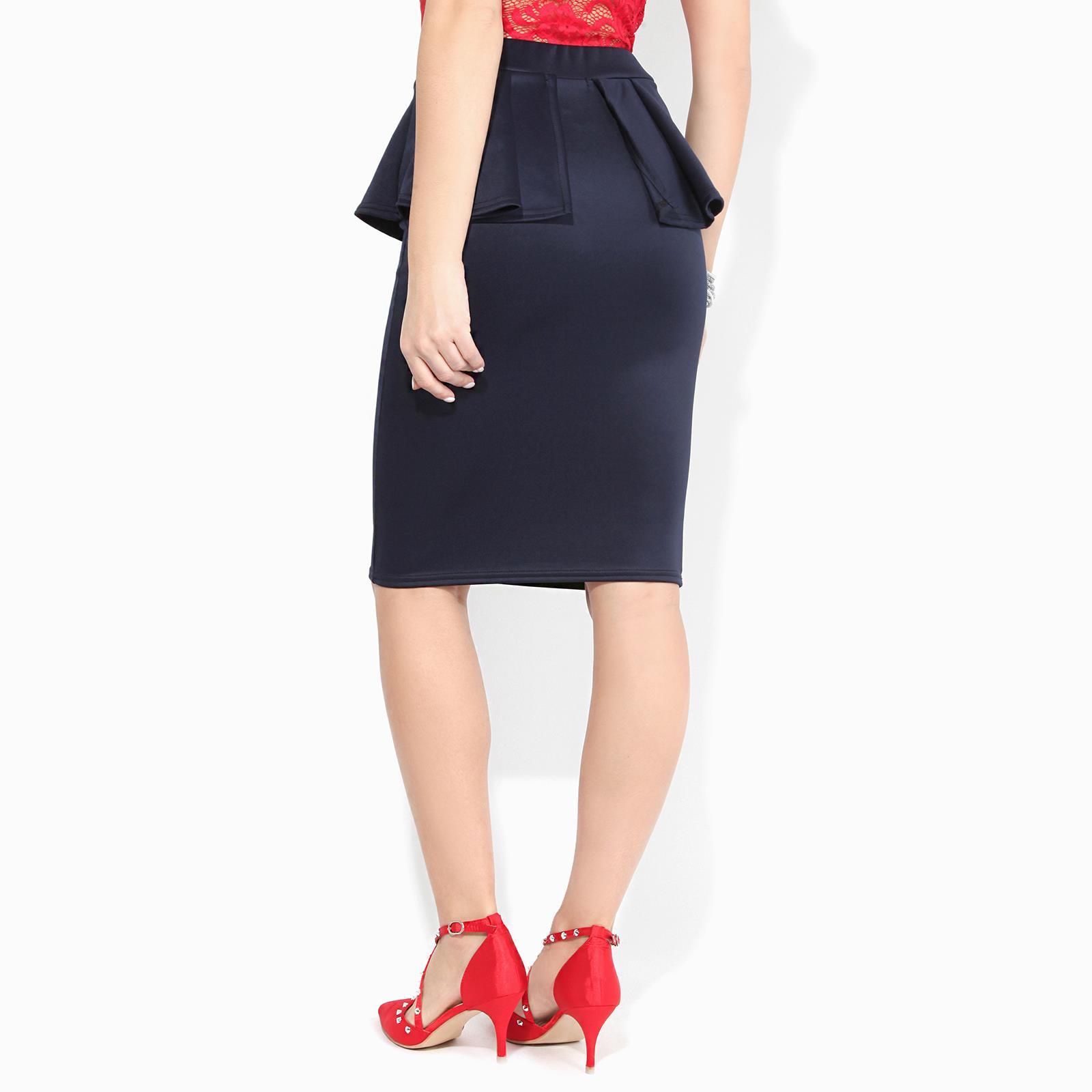 Women-Ladies-Peplum-Pencil-Midi-Skirt-Ruffle-Frill-Waist-Bodycon-Party-Office thumbnail 8