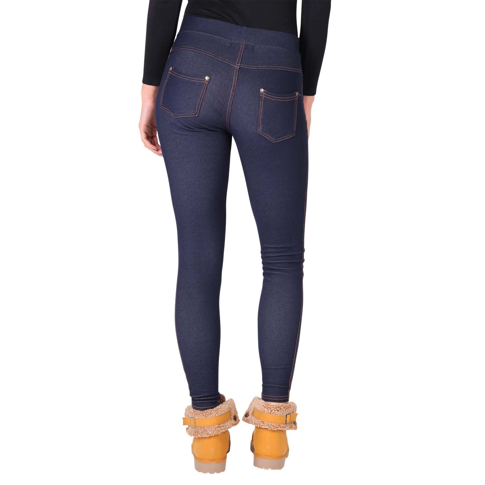 damen gef tterte thermo leggings jeggings jeans stretch. Black Bedroom Furniture Sets. Home Design Ideas