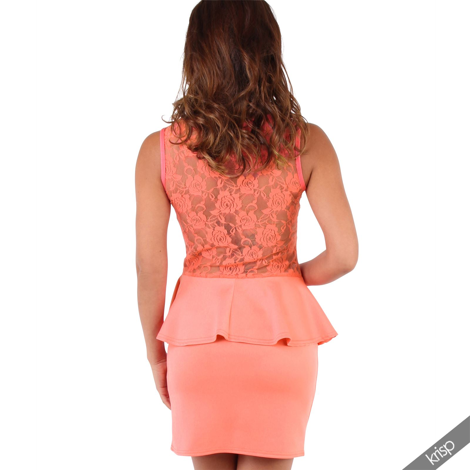 Womens-Ladies-Pencil-Lace-Dress-Mini-Midi-Skirt-Bodycon-Stretch-Frill-Party thumbnail 10