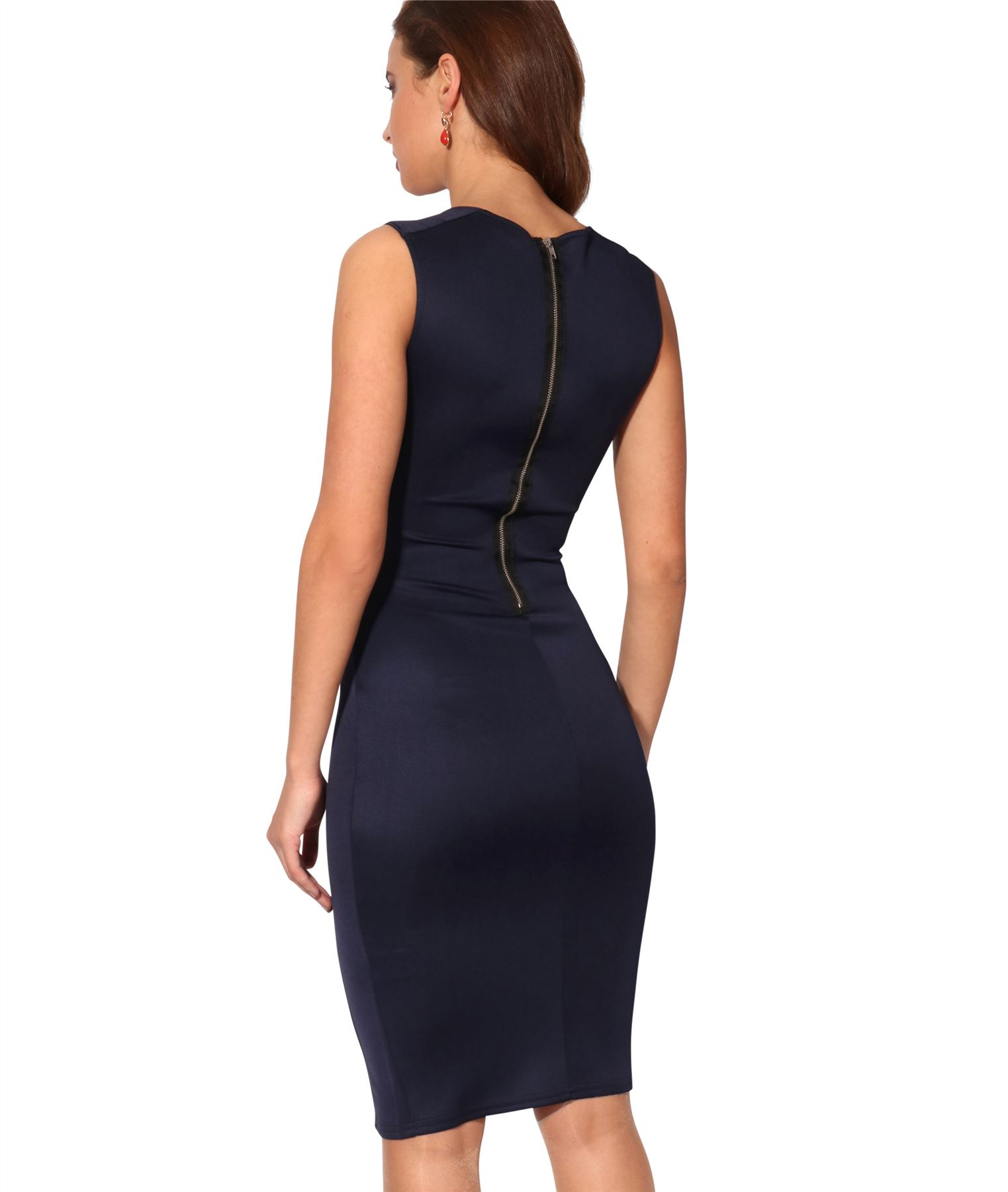 Womens-Pencil-Midi-Bodycon-Dress-Square-Neck-Panelled-Sexy-Zip-Party-Evening thumbnail 18