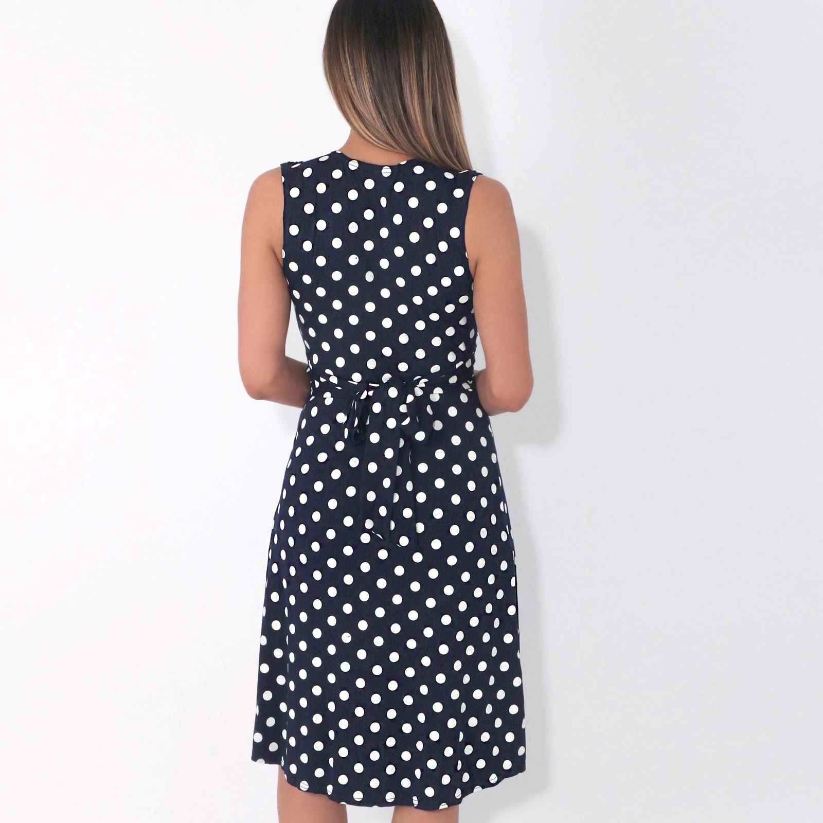 Womens-Polka-Dot-Retro-Dress-Pleated-Skirt-Wrap-Mini-V-Neck-Top-Swing-Party thumbnail 28
