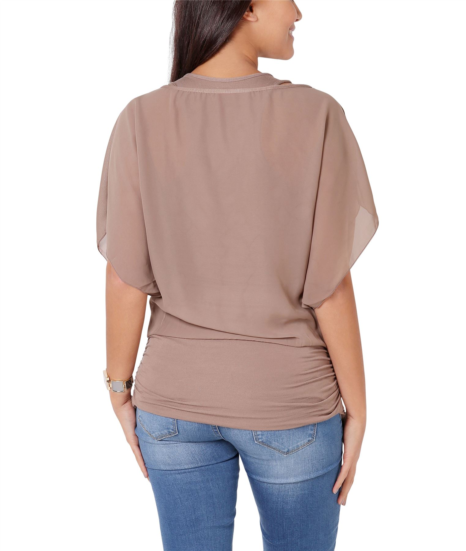 Womens-Scoop-Neck-Blouse-Baggy-Batwing-T-Shirt-Top-Ladies-Oversized-Chiffon-2in1 thumbnail 18