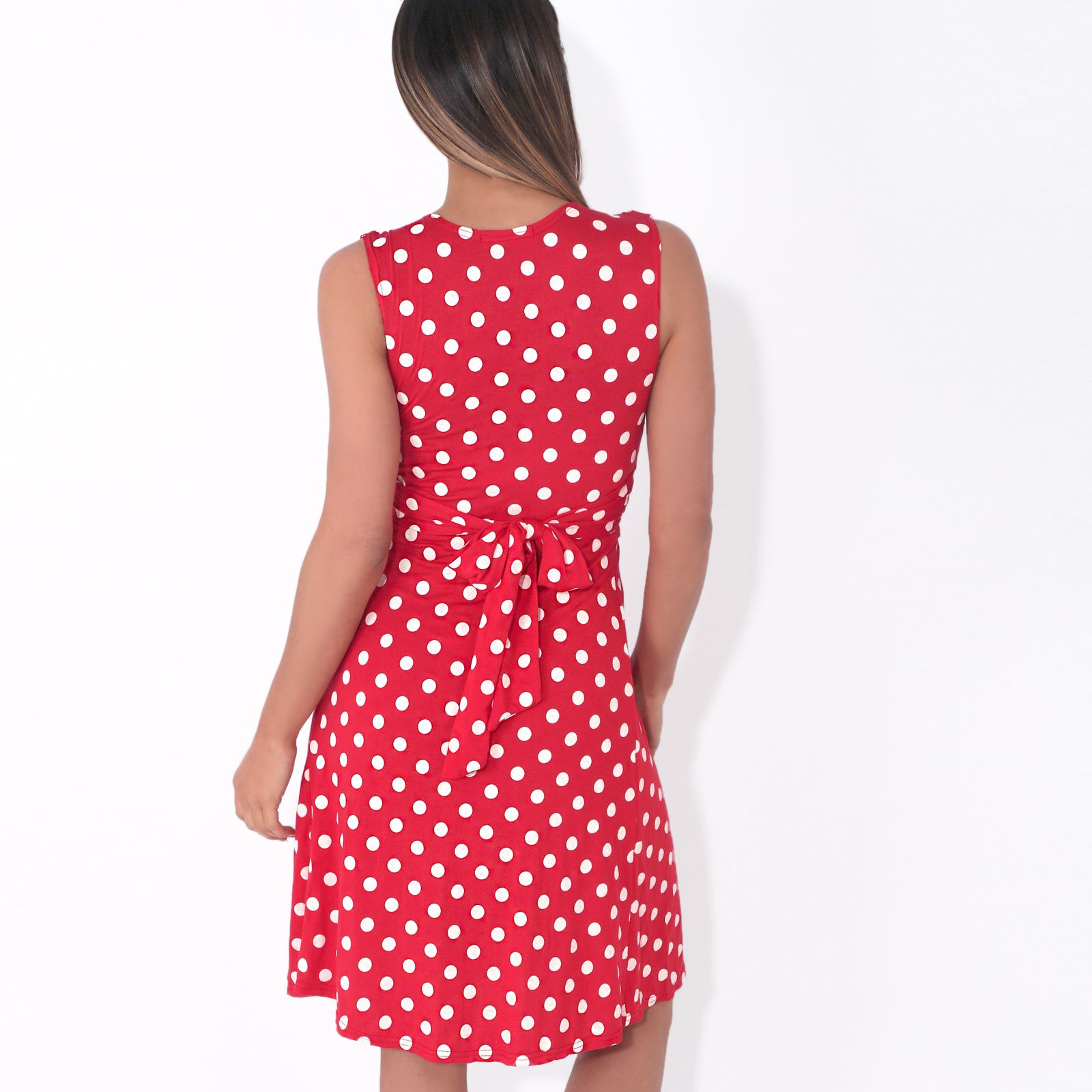 Womens-Polka-Dot-Retro-Dress-Pleated-Skirt-Wrap-Mini-V-Neck-Top-Swing-Party thumbnail 34