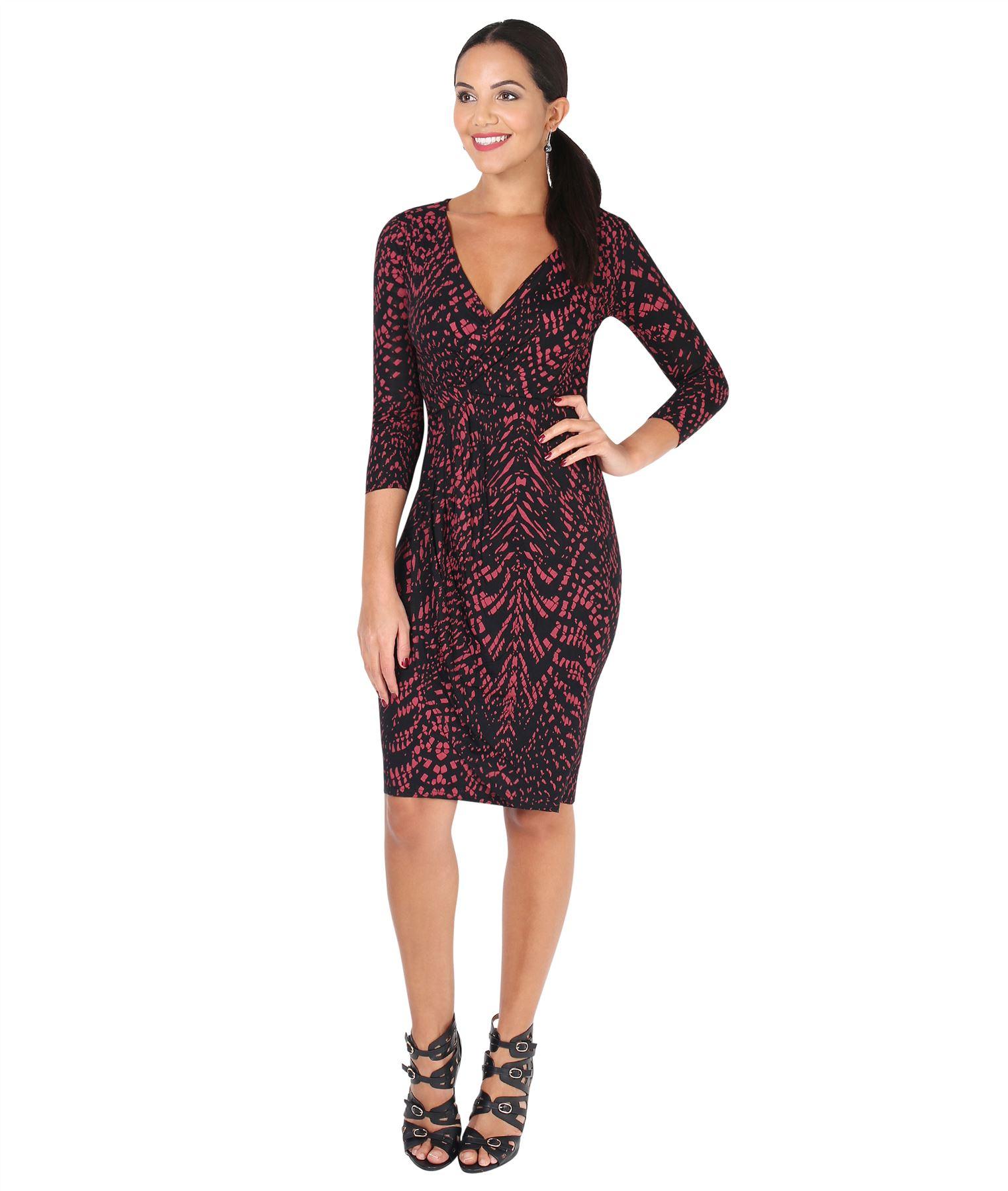 Womens-V-Neck-Dress-Top-Bodycon-Skirt-Midi-Snakeskin-Print-Cross-Over-Party-Wrap thumbnail 24