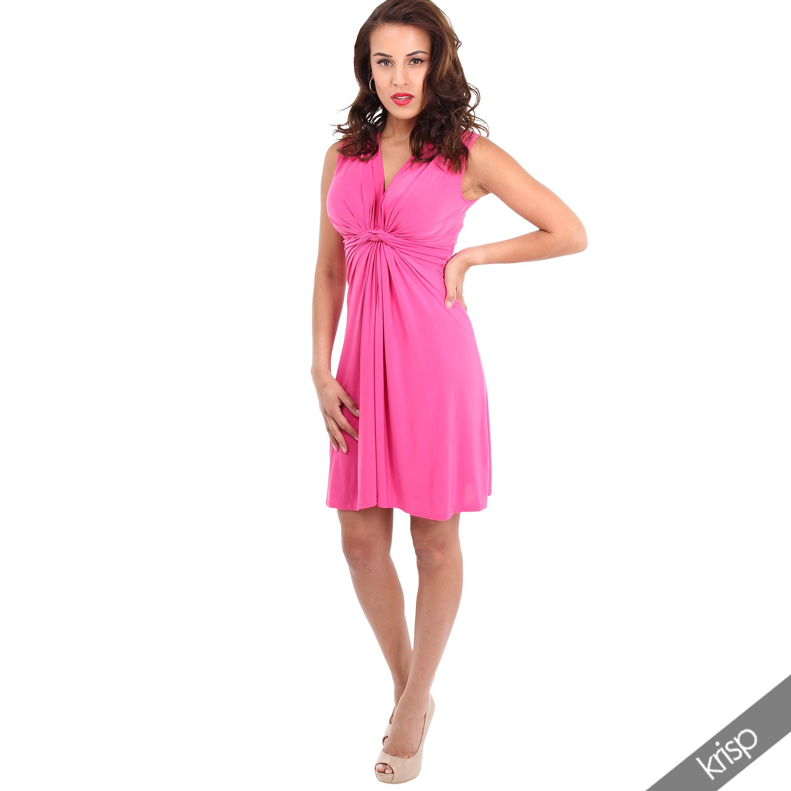 thumbnail 13 - Womens Ladies Ruched Drape Mini Dress Twist Knot Party Summer Casual Beach