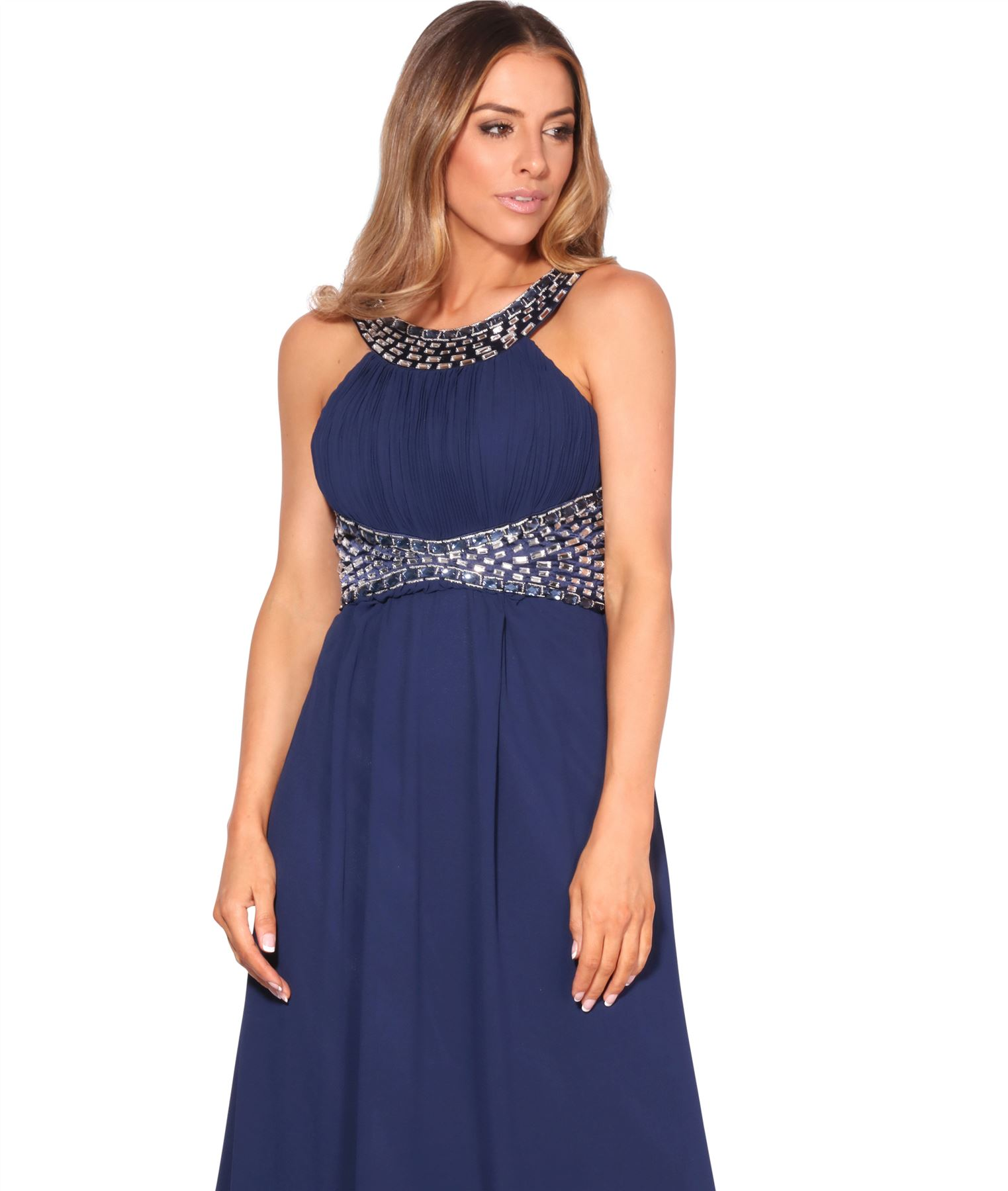 Women-Formal-Diamante-Wedding-Cocktail-Dress-Long-Ball-Gown-Prom-Maxi-Party-8-18 thumbnail 18