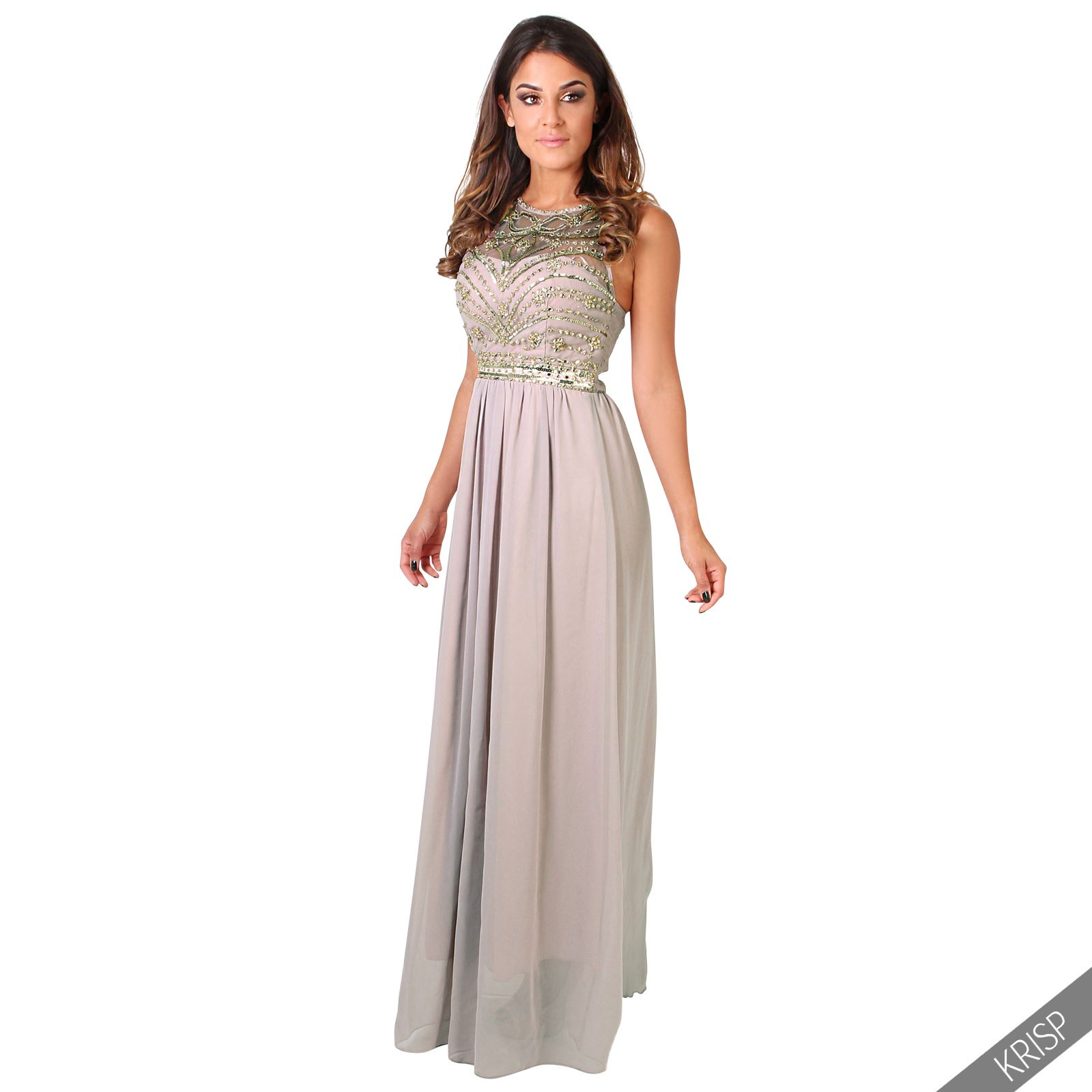 Damen Maxi Strass Ballkleid Empire Cocktail Dinner Hochzeit Party ...