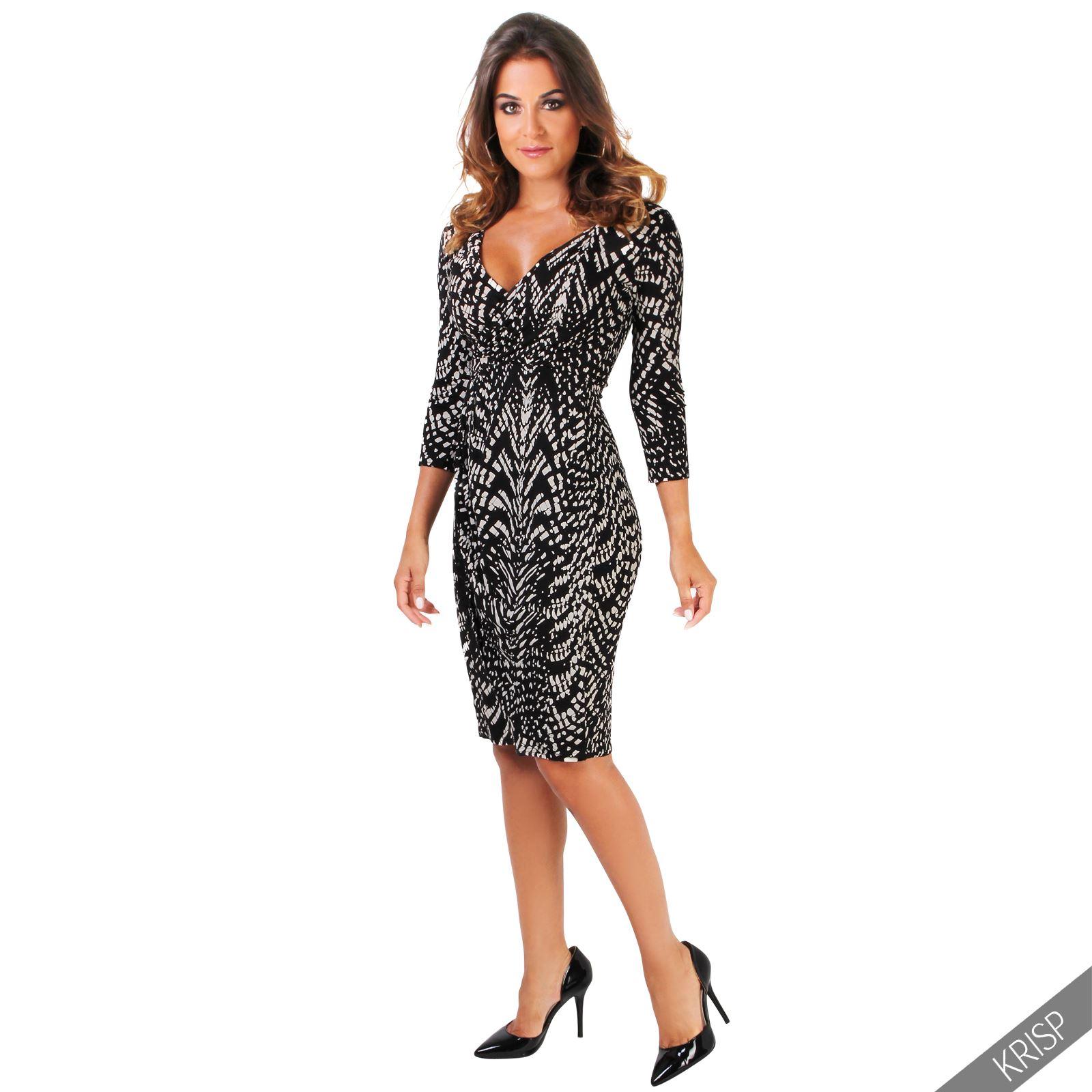 Womens-V-Neck-Dress-Top-Bodycon-Skirt-Midi-Snakeskin-Print-Cross-Over-Party-Wrap thumbnail 15
