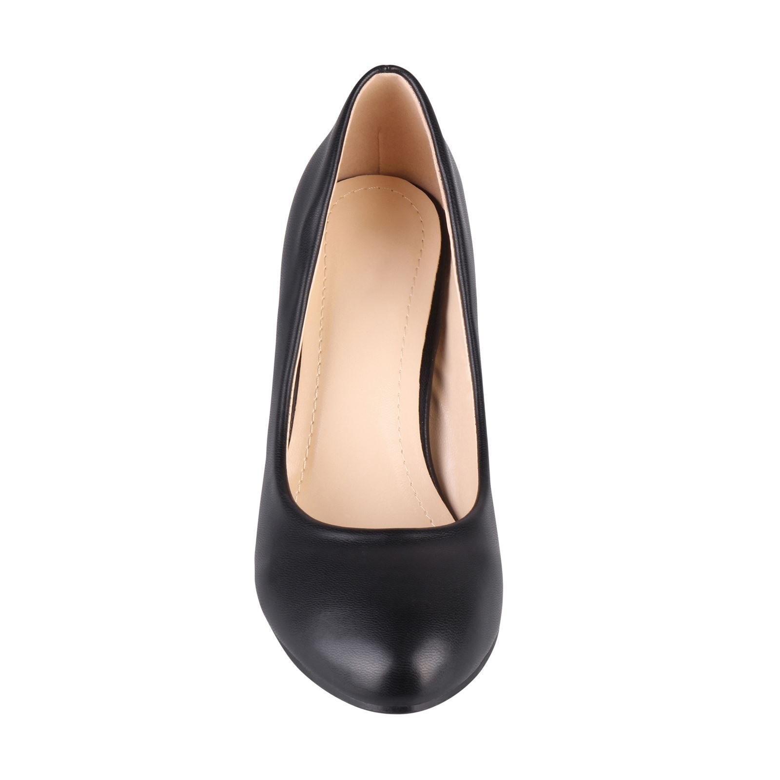 Womens-Ladies-Mid-Heel-Court-Shoes-Slip-On-Low-Kitten-Heels-Pumps-Matte-Size-3-8 thumbnail 8