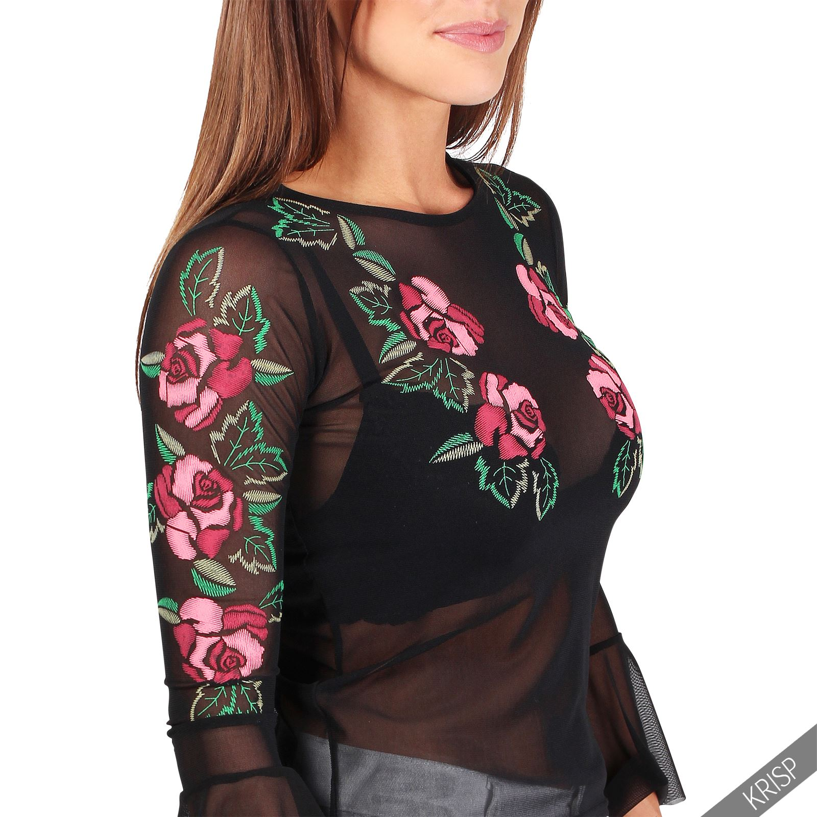 Womens Ladies Long Sleeve Embroidered Mesh Ruffle Top T