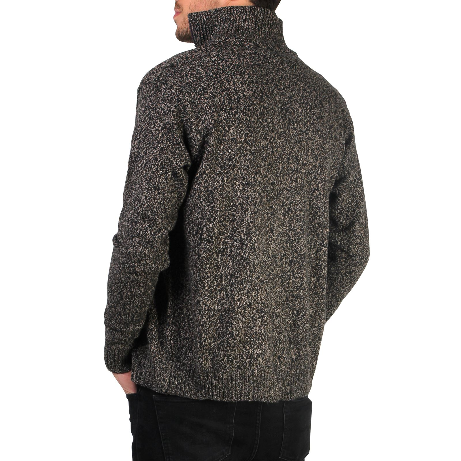 Mens-Wool-Jumper-Winter-Sweater-Zip-Up-Funnel-Neck-Soft-Knit-Cardigan-Top thumbnail 7