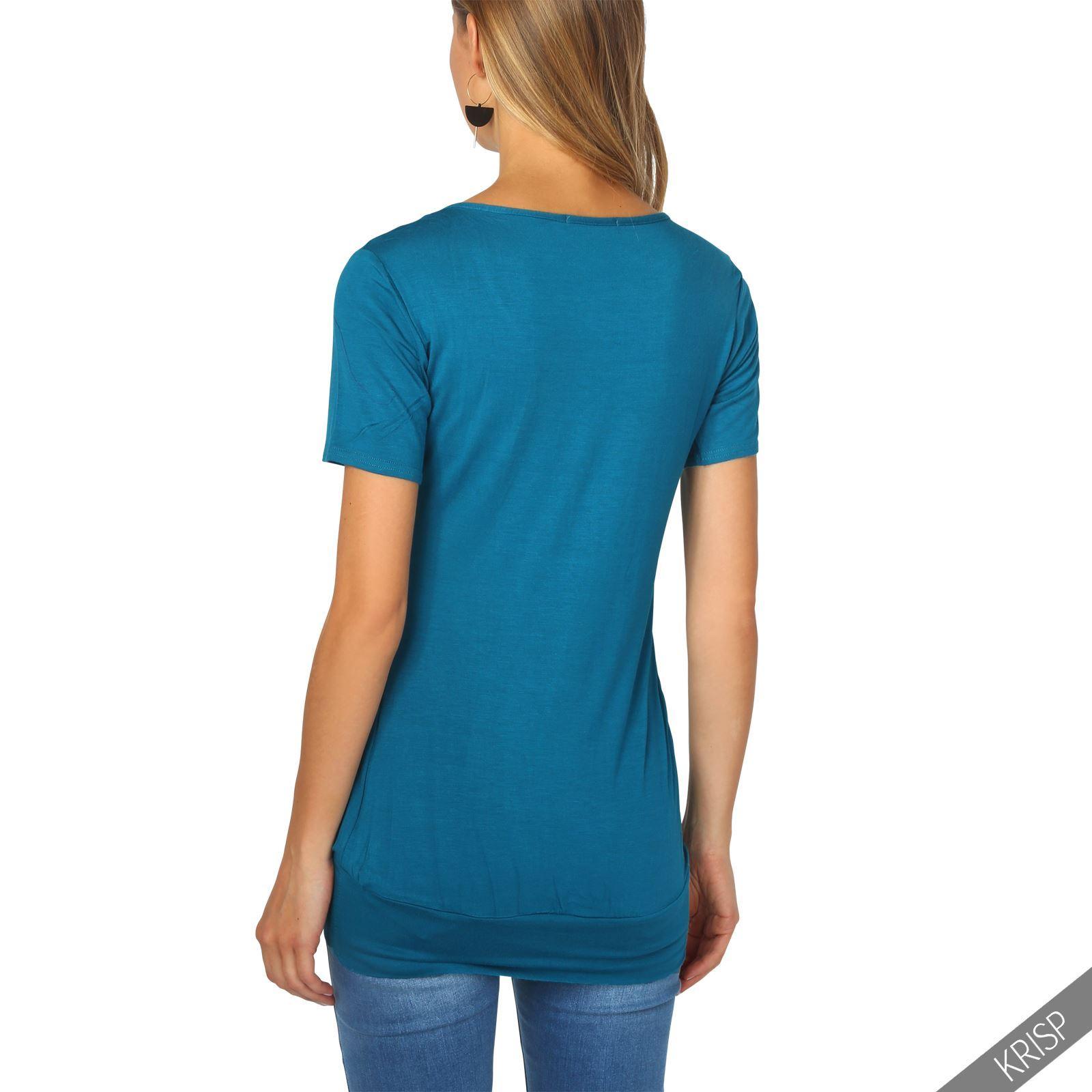 Womens-Ladies-Pleated-T-Shirt-Long-Blouse-Loose-Jersey-Top-Plain-Tunic-Plus-8-20 thumbnail 13