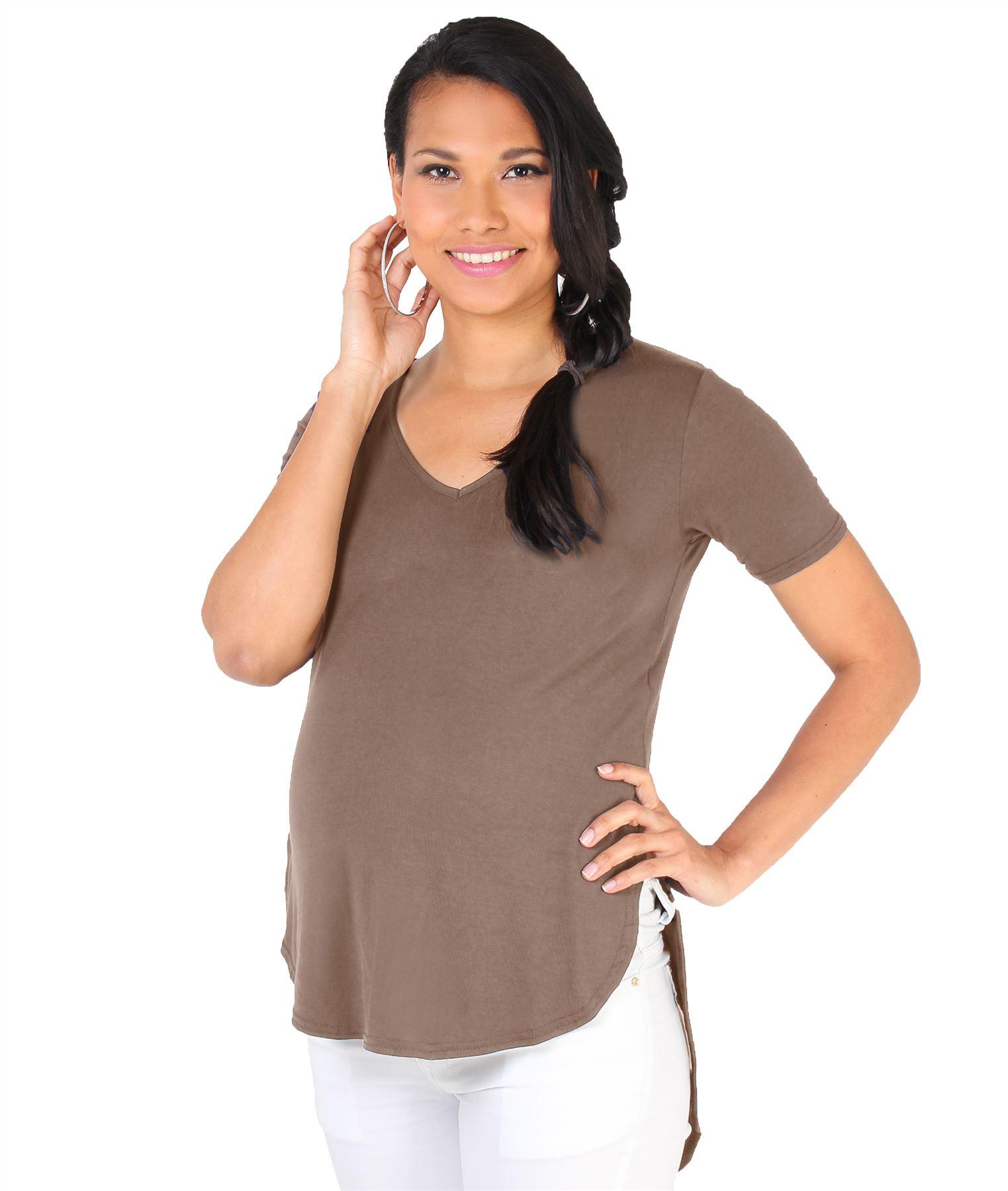 517755ff7d4 Camiseta Premamá Top Ancho Asimétrico Ropa Embarazada Moderna Oferta Barata  Moda