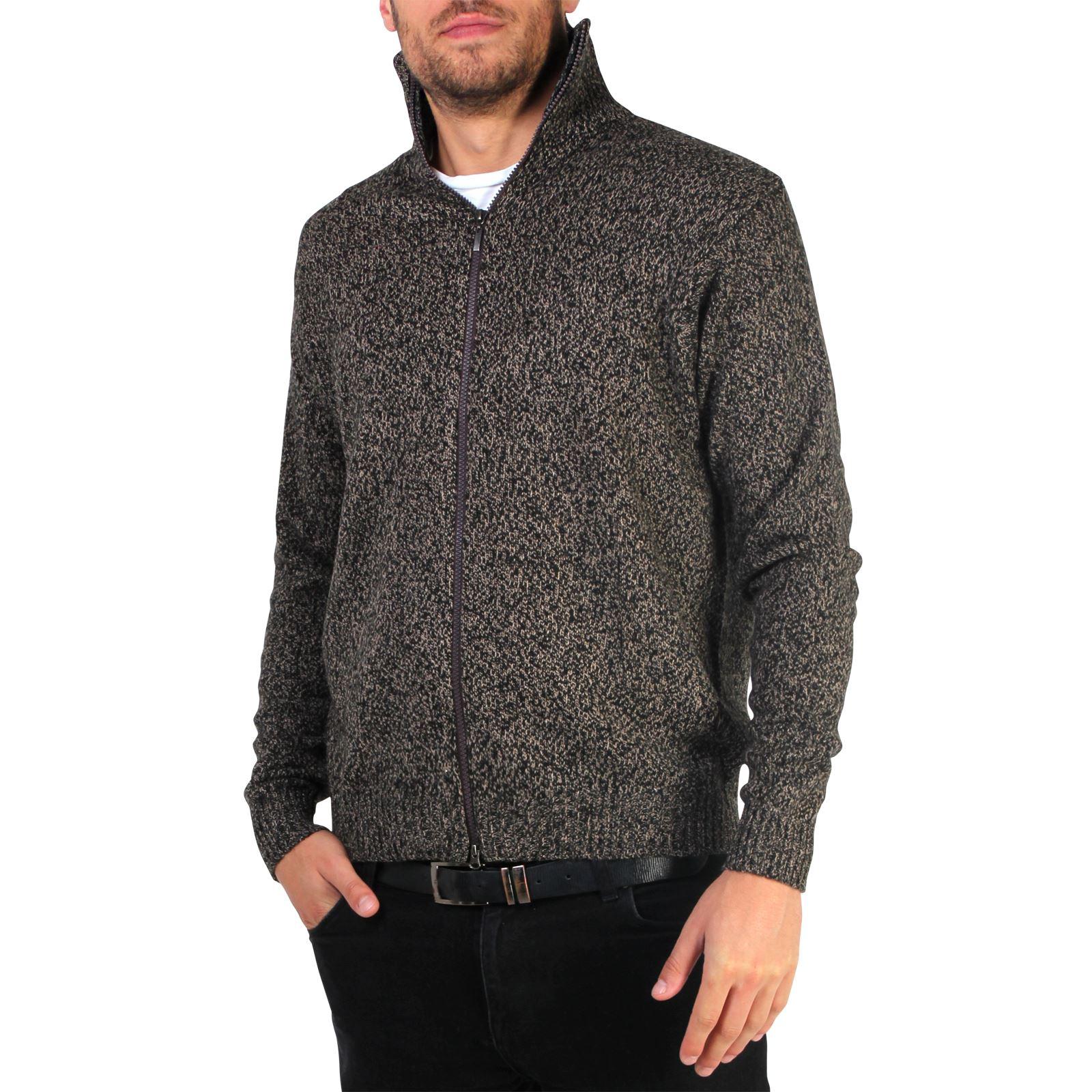 Mens-Wool-Jumper-Winter-Sweater-Zip-Up-Funnel-Neck-Soft-Knit-Cardigan-Top thumbnail 6