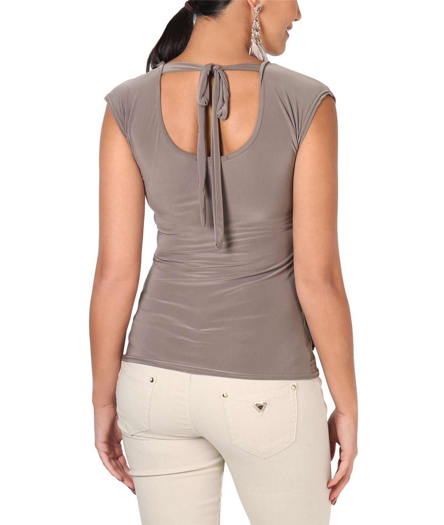 Womens-Ladies-Cowl-Neck-Top-Sleeveless-Silk-Drape-T-Shirt-Low-Cut-Back-Party thumbnail 12